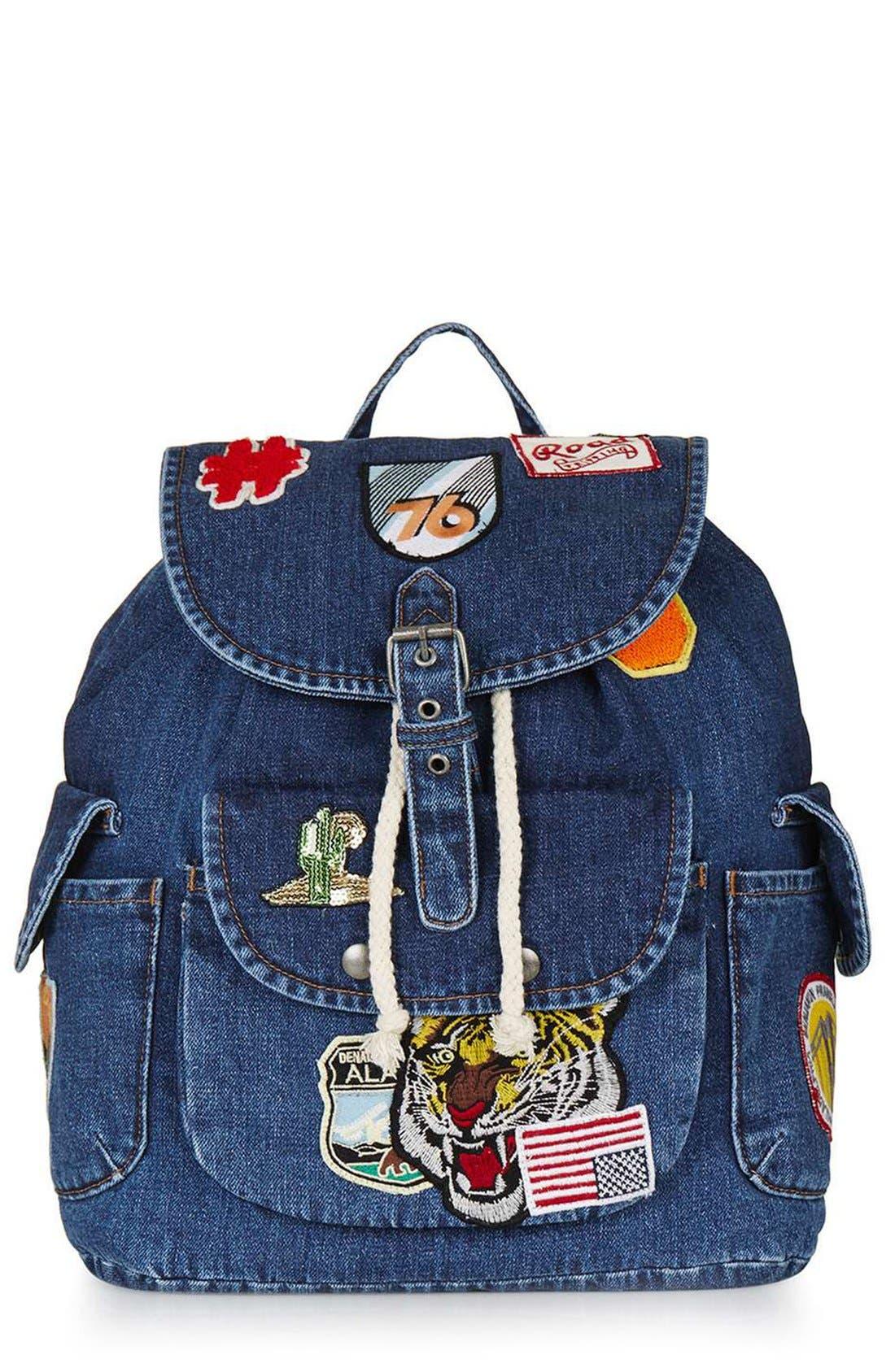 Alternate Image 1 Selected - Topshop Badge Denim Backpack