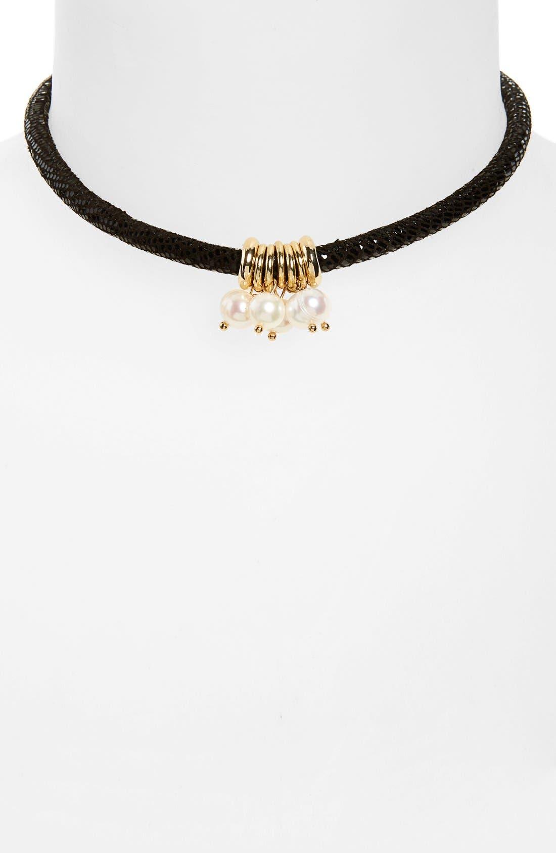 Main Image - Ettika Cultured Pearl Pendant Suede Choker
