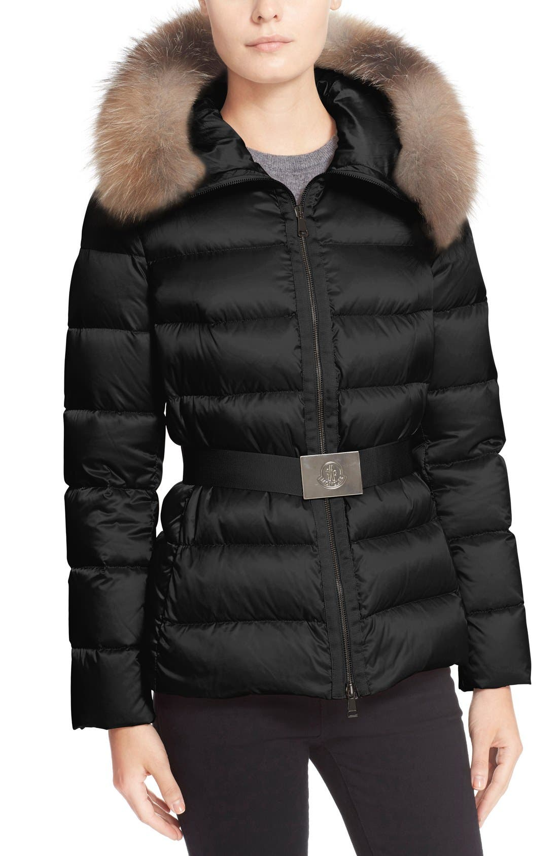 Alternate Image 5  - Moncler 'Tatie' Belted Down Puffer Coat with Removable Genuine Fox Fur Trim