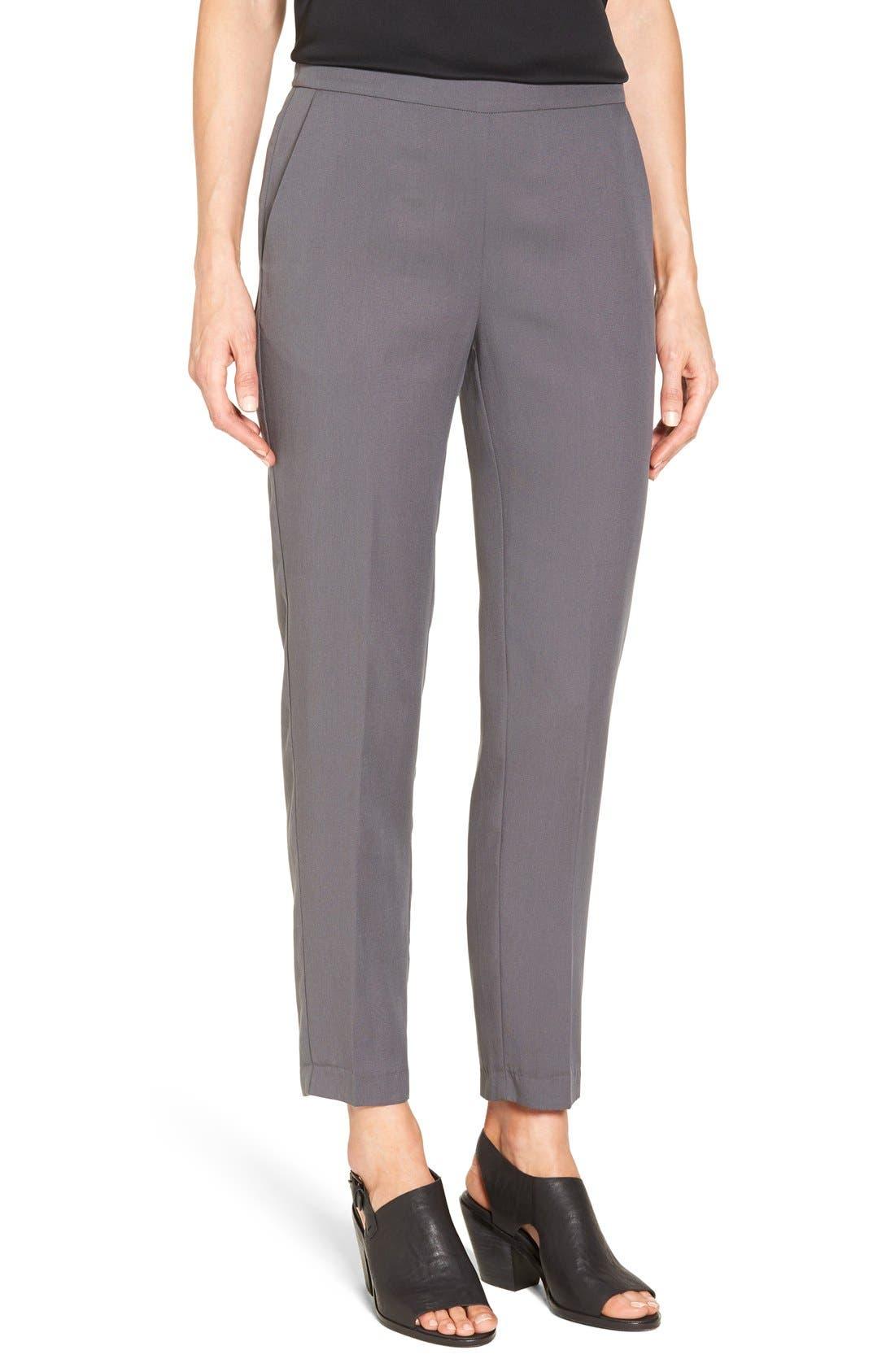 Alternate Image 1 Selected - Eileen Fisher Woven Slim Leg Ankle Pants (Regular & Petite)
