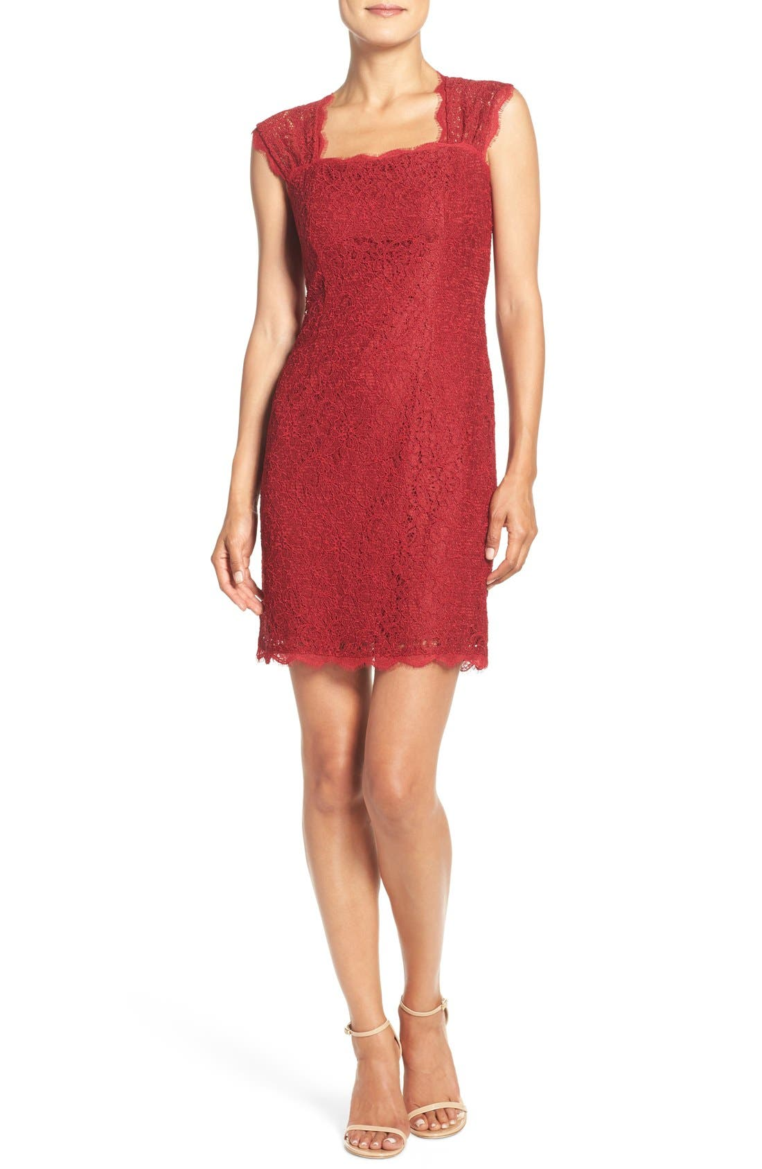 Alternate Image 4  - Adrianna Papell Lace Sheath Dress (Regular & Petite)