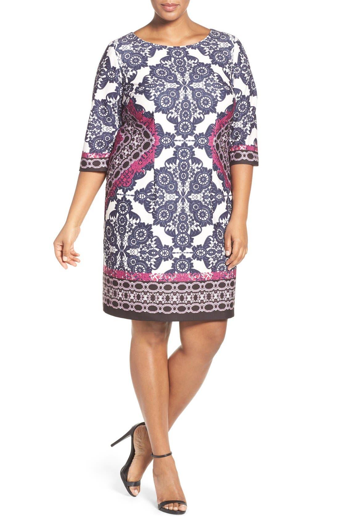 Alternate Image 5  - Eliza J Geo Print Ponte Sheath Dress (Plus Size)