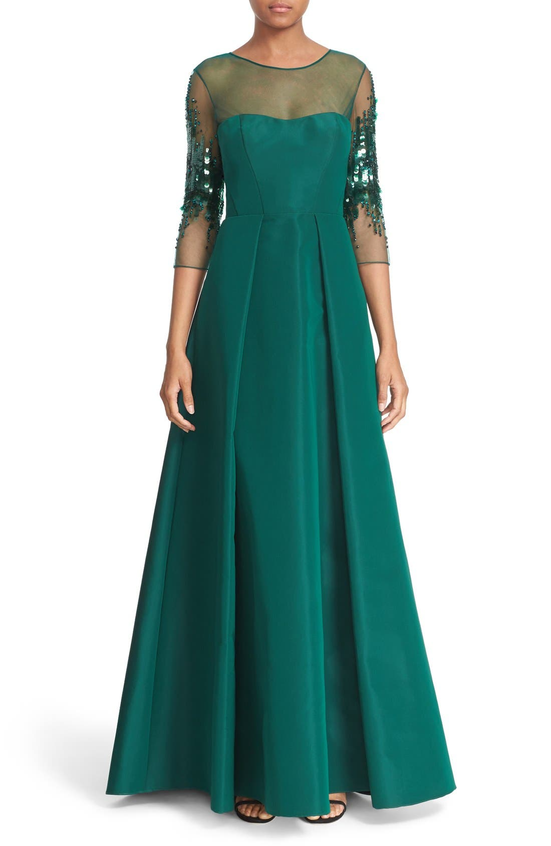 Alternate Image 1  - Pamella Roland Crystal Sequin Silk Faille Gown