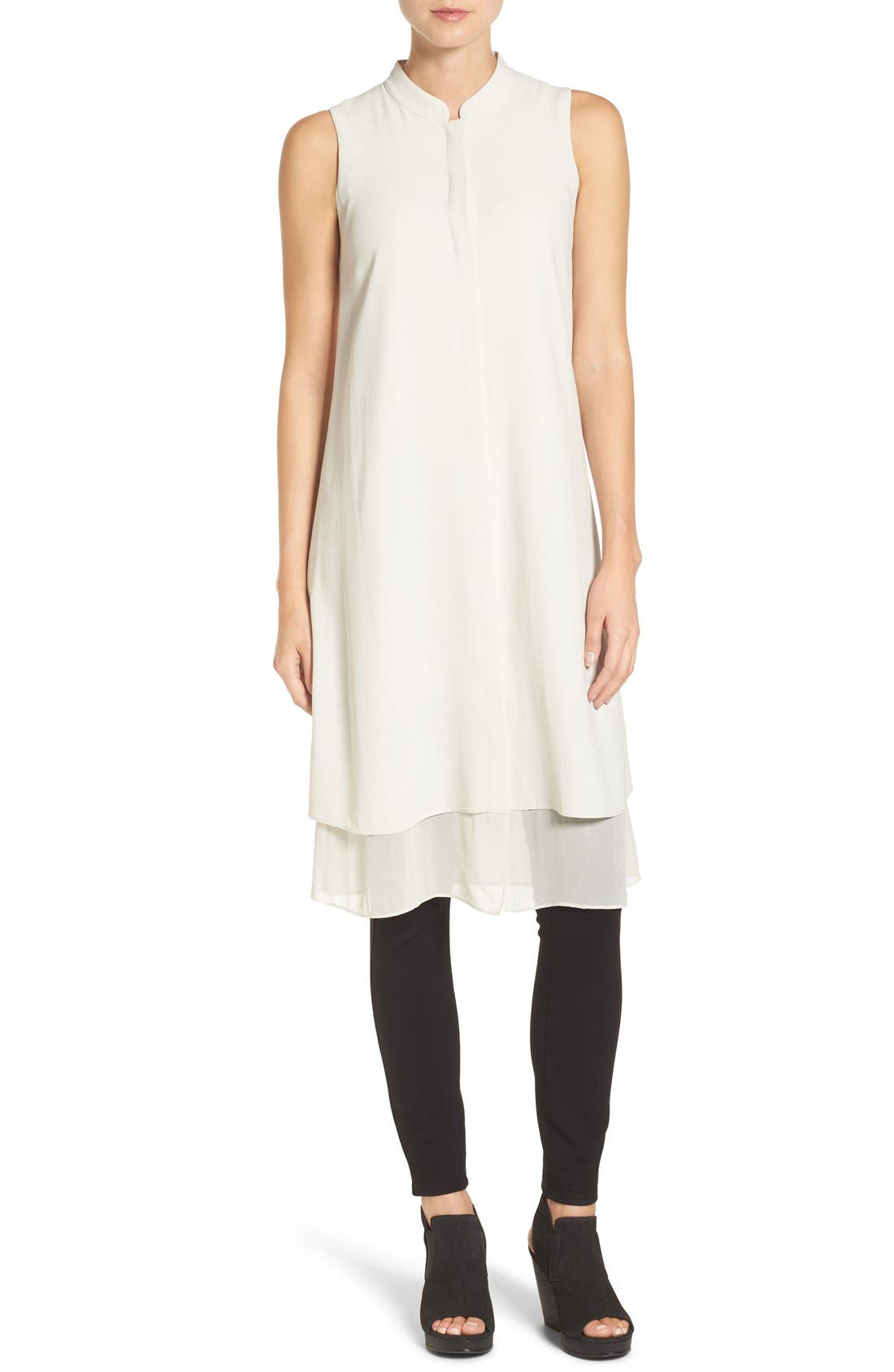 Main Image - Eileen Fisher Chiffon Hem Sleeveless Mandarin Collar Silk Georgette Shirtdress