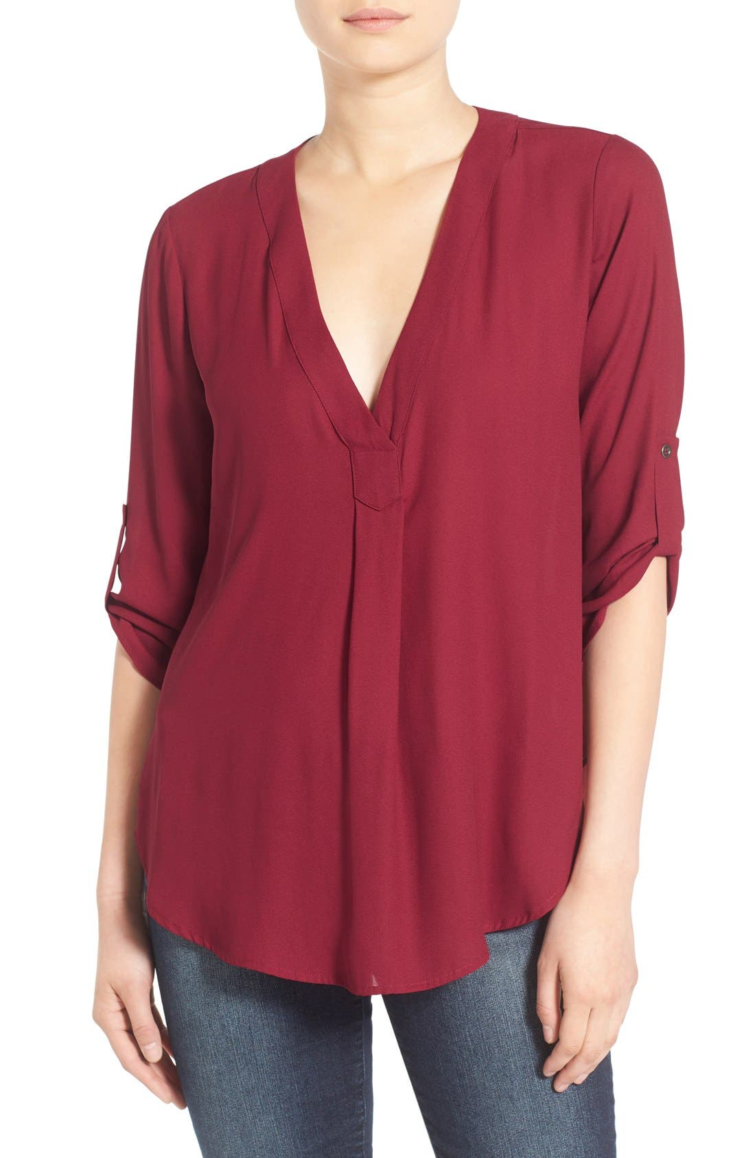 Main Image - Lush V-Neck Crepe Blouse