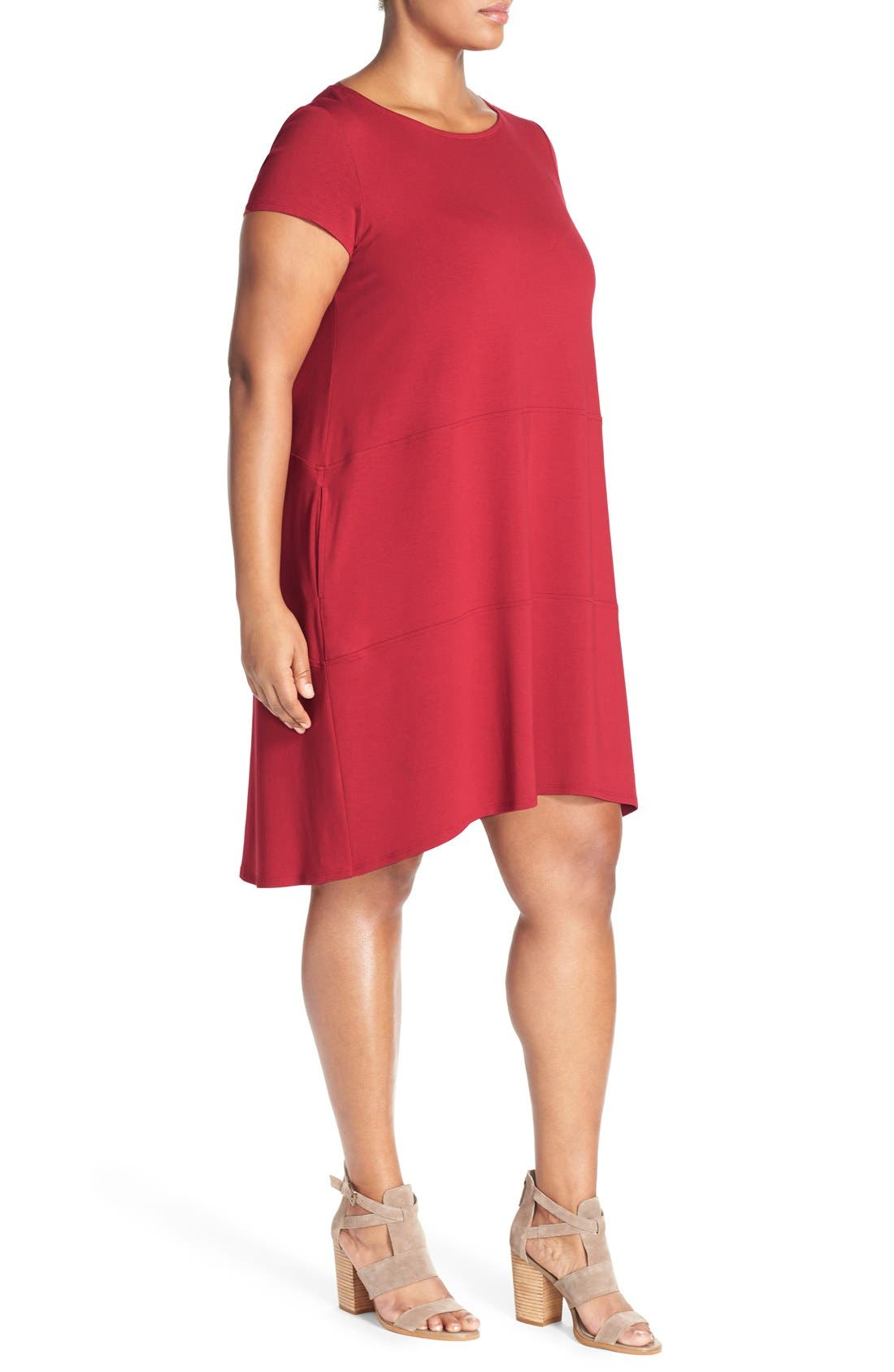 Alternate Image 3  - Eileen Fisher Bateau Neck Cap Sleeve Dress (Plus Size)
