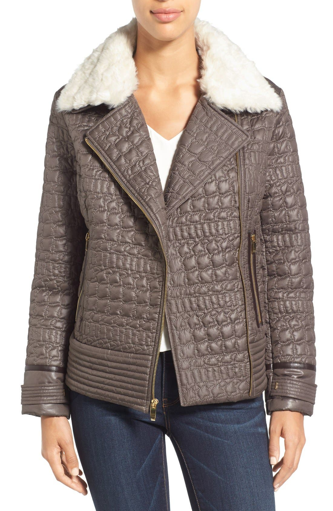Via Spiga Detachable Faux Fur Collar Quilted Moto Jacket
