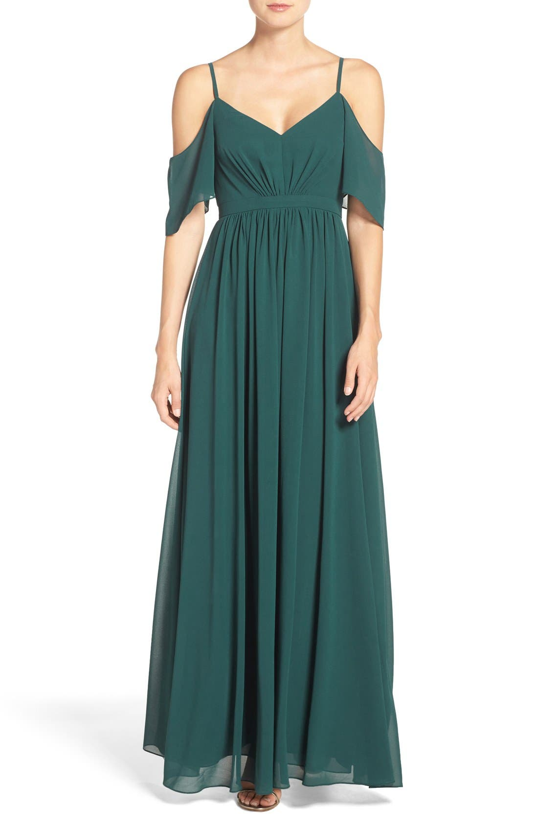 Main Image - Lulu's Off the Shoulder Chiffon Gown