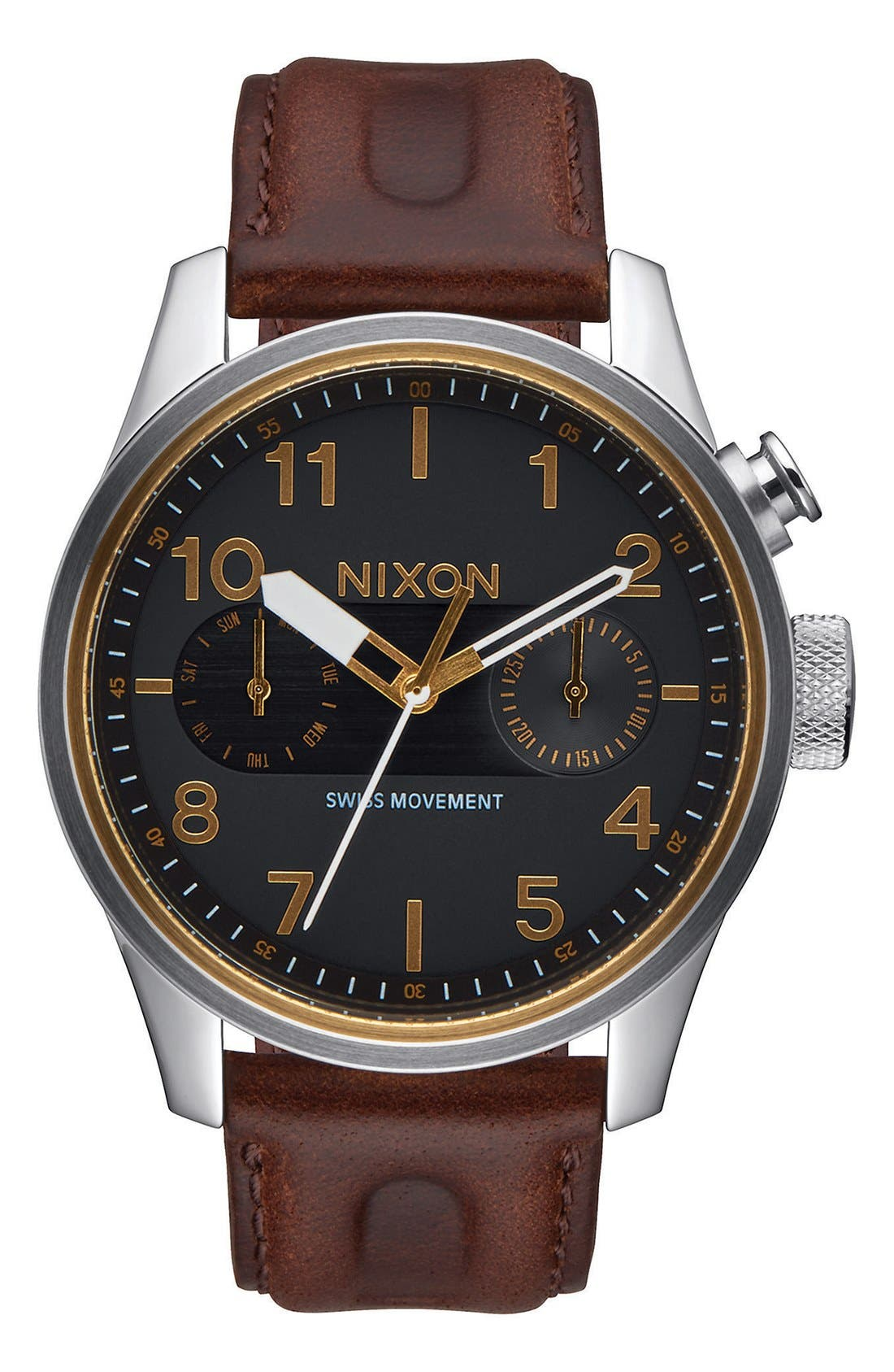 Nixon 'Safari Deluxe' Leather Strap Watch, 43mm