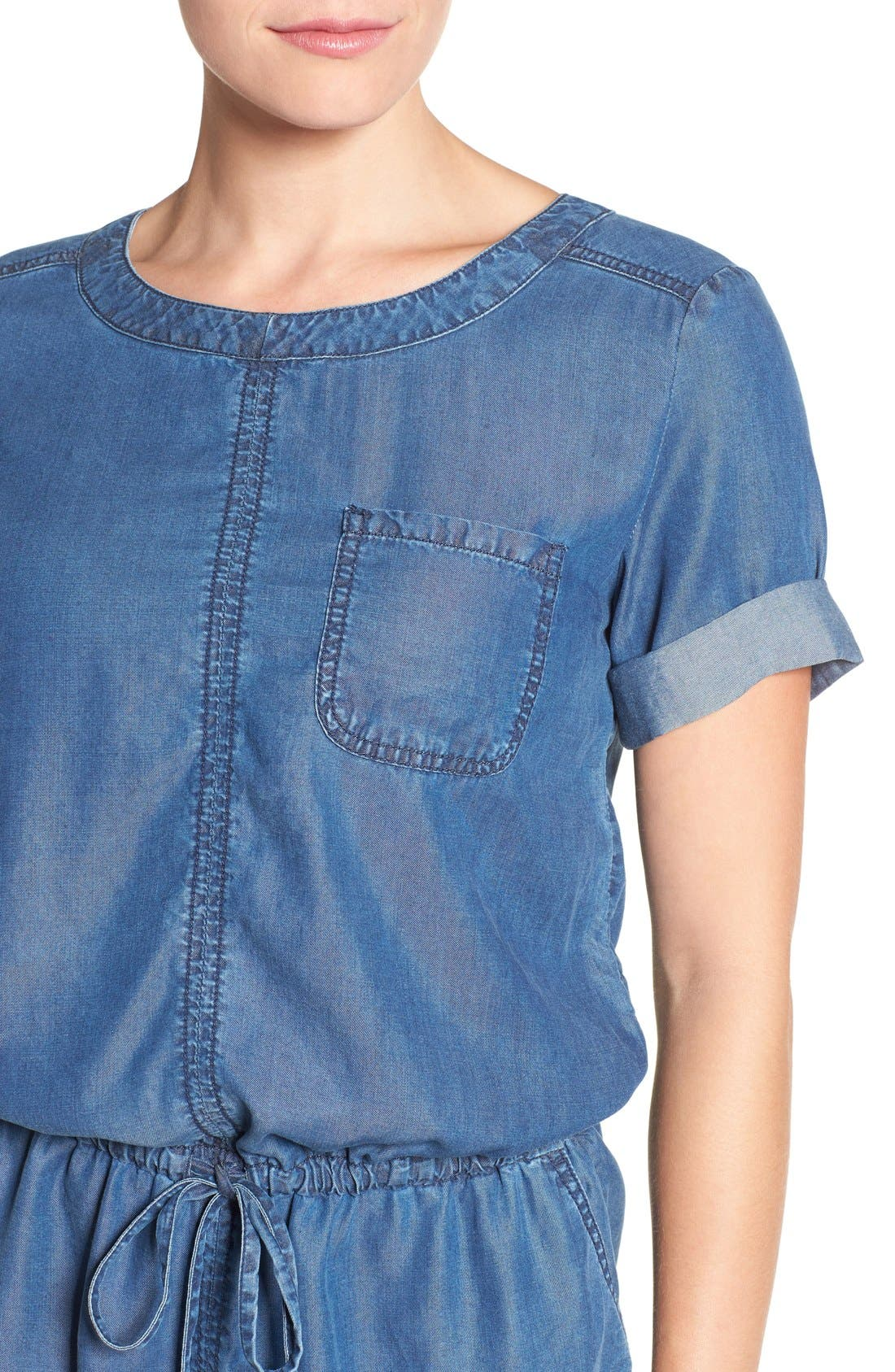 Alternate Image 4  - Caslon® Chambray Drawstring Waist Dress