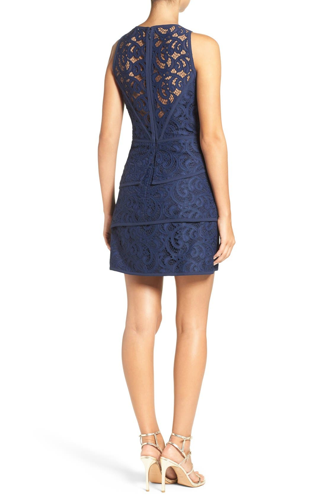 Alternate Image 2  - BCBGMAXAZRIA 'Hannah' Tiered Lace Fit & Flare Dress