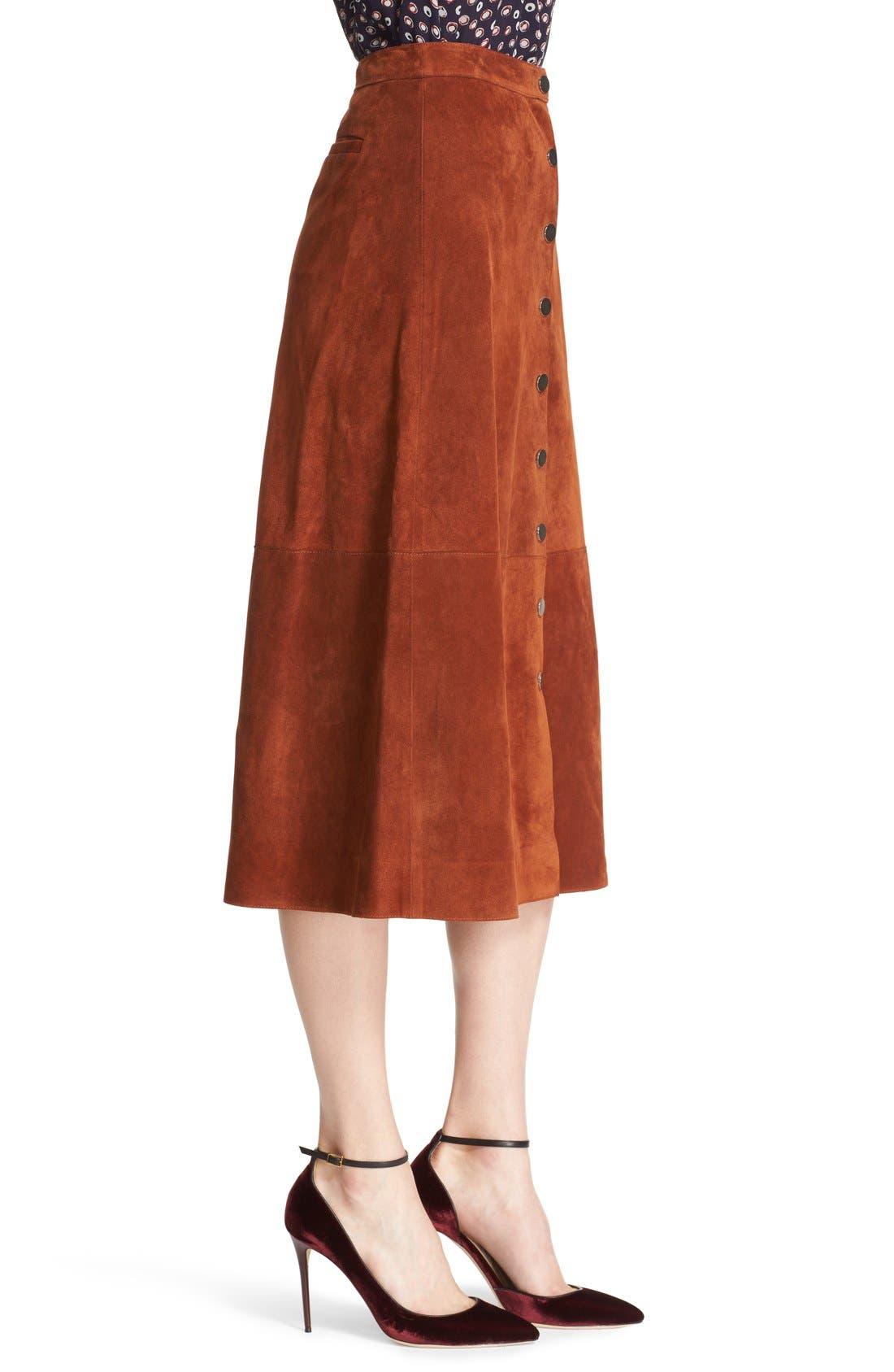 Alternate Image 4  - Diane von Furstenberg 'Gracelynn' Suede Midi Skirt