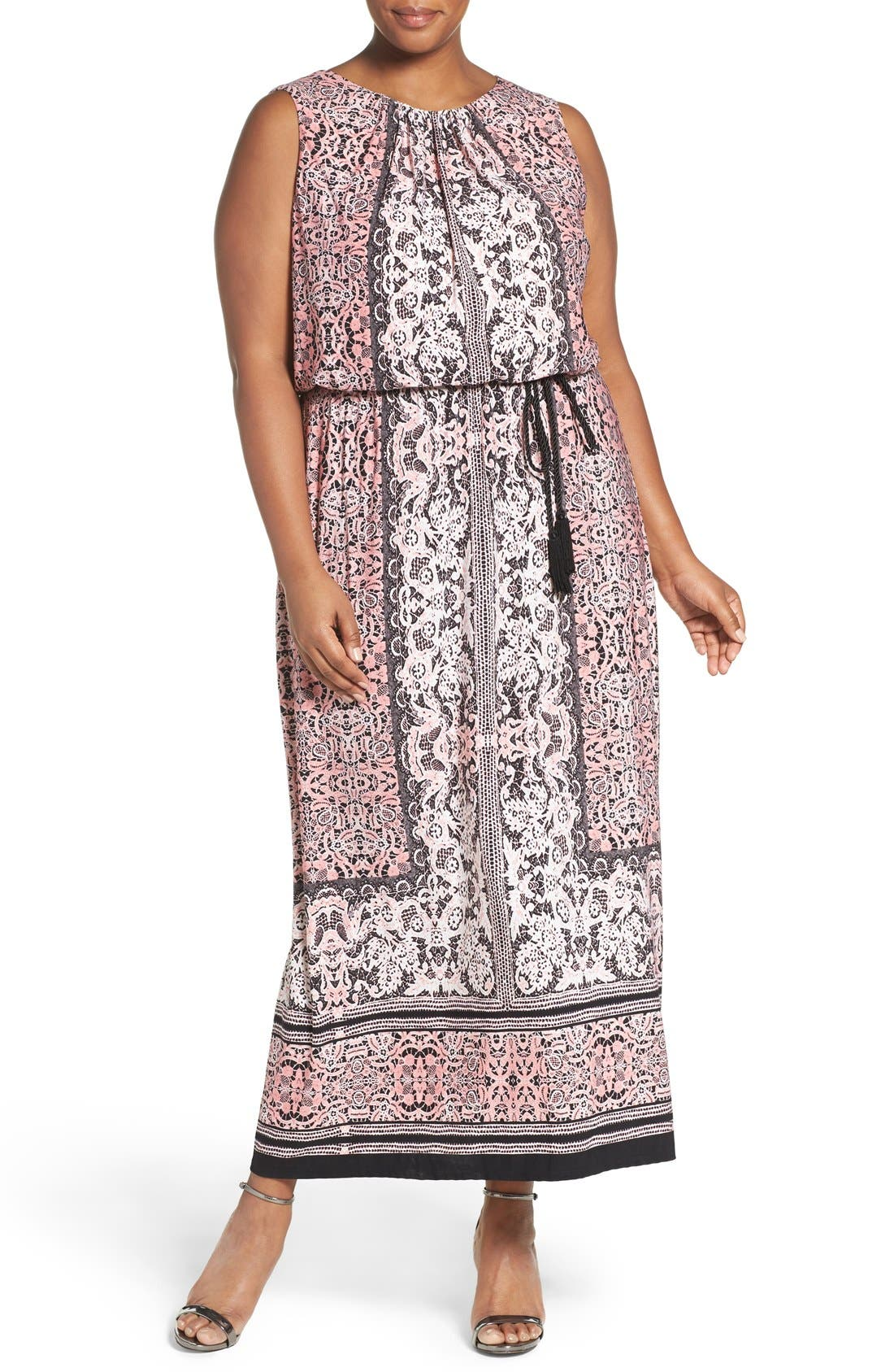 London Times Lace Print Belted Maxi Dress (Plus Size)