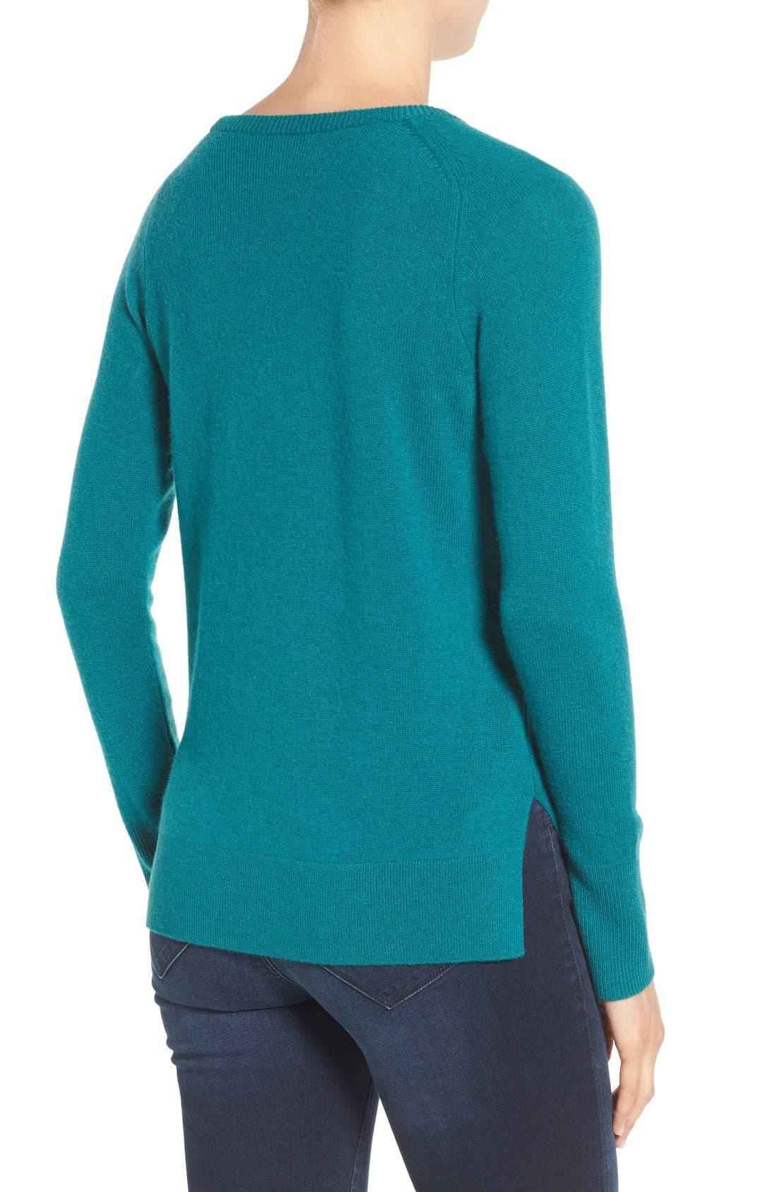 Alternate Image 2  - Halogen® Crewneck Lightweight Cashmere Sweater (Regular & Petite)