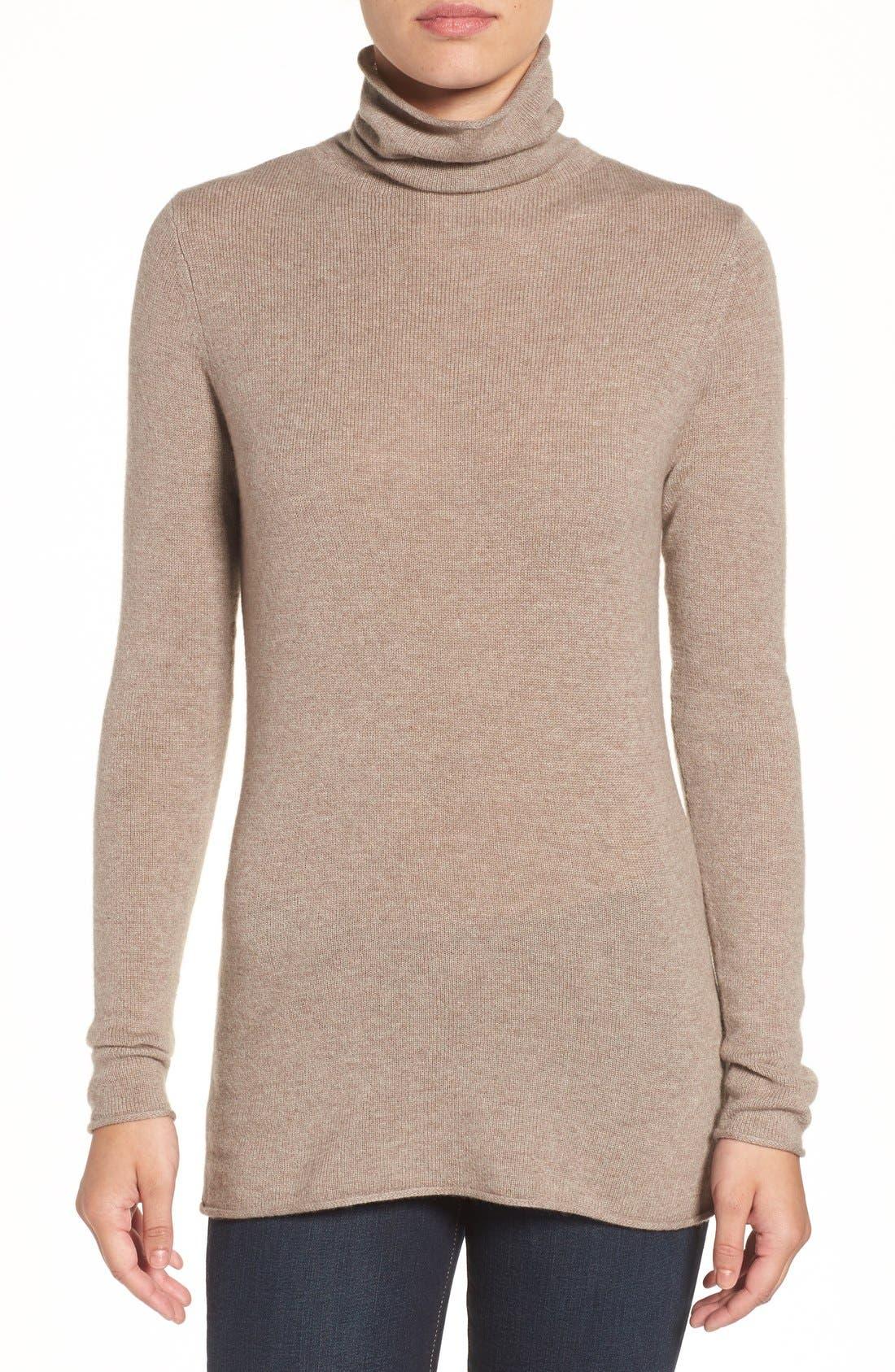 Main Image - Halogen® Wool & Cashmere Funnel Neck Sweater (Regular & Petite)