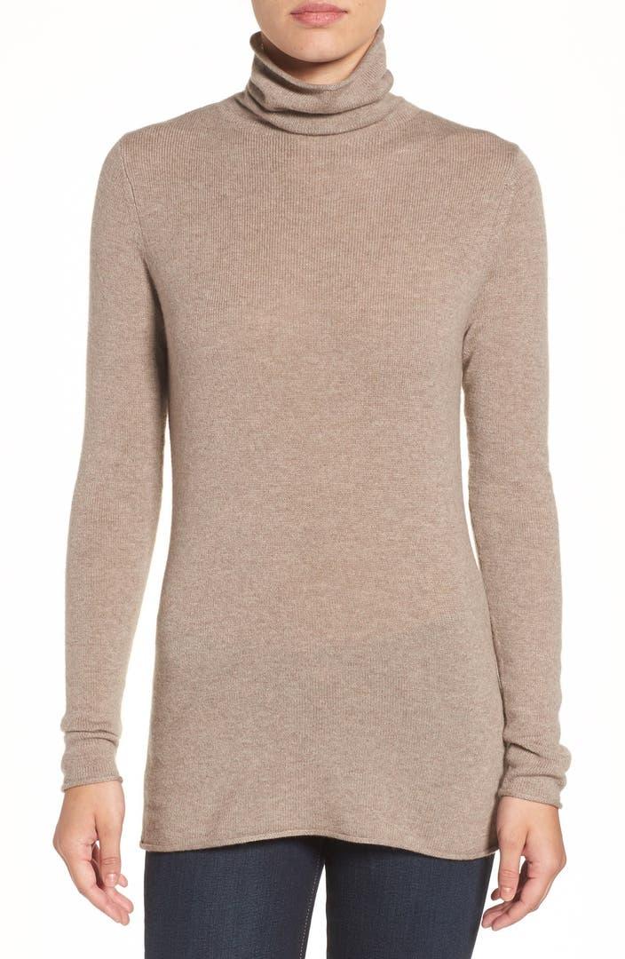 Wool Sweater Grey: Halogen® Wool & Cashmere Funnel Neck Sweater (Regular