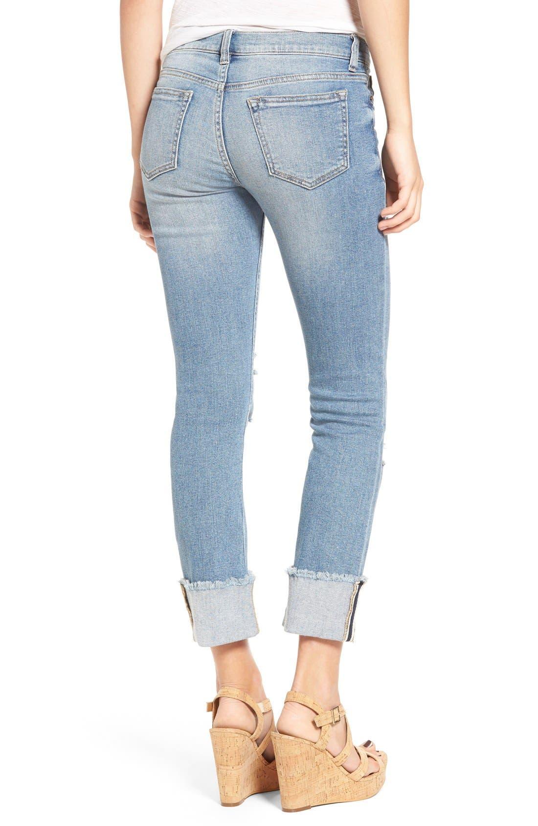 Alternate Image 2  - SP Black Distressed Cuffed Skinny Jeans