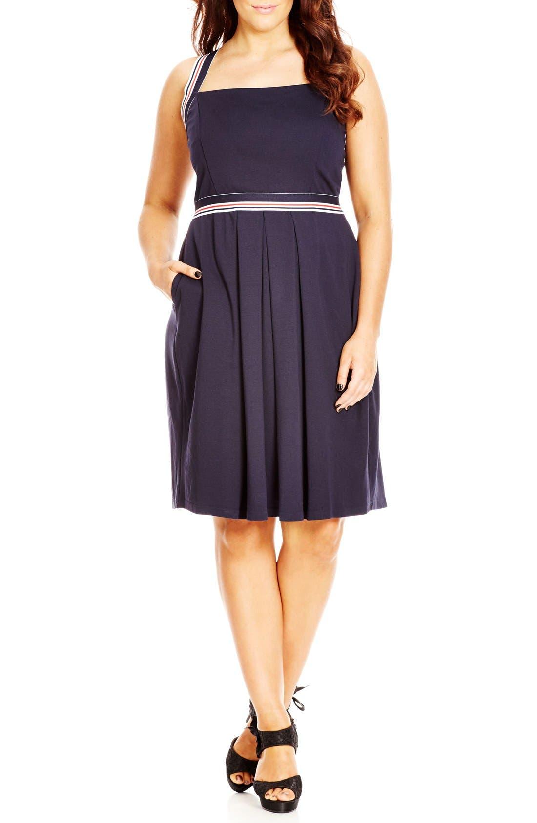 City Chic 'Sail Stripe' Dress (Plus Size)