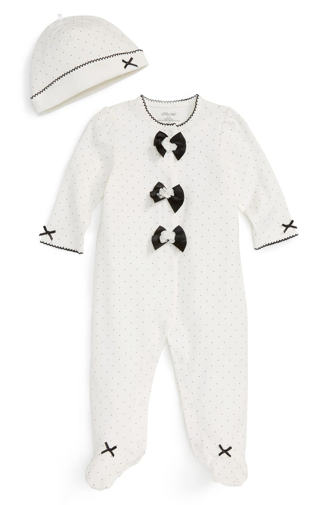 LITTLE ME Polka Dot Footie & Hat Set
