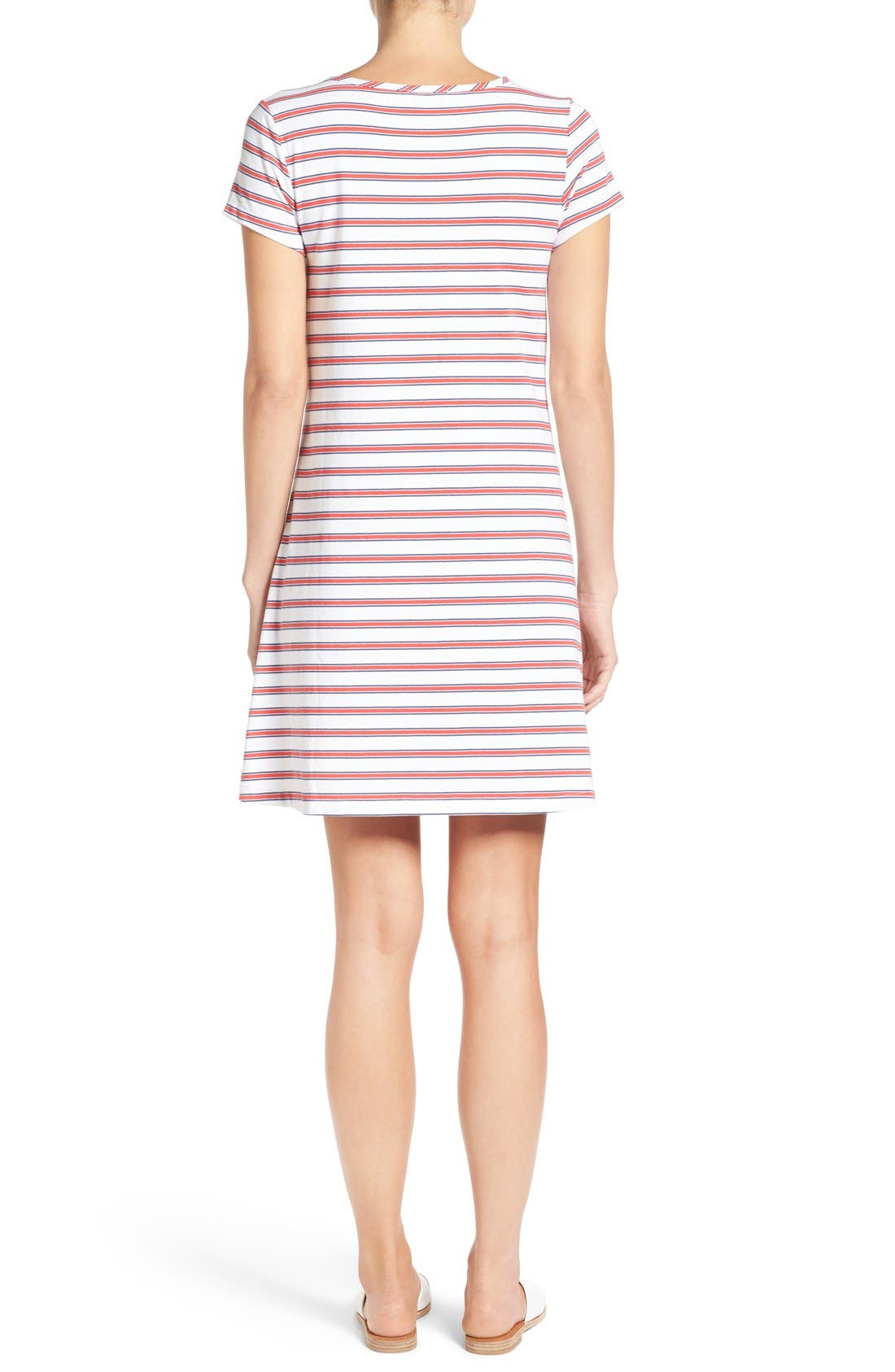 Alternate Image 2  - Vineyard Vines Stripe Knit Stretch Cotton Shirtdress