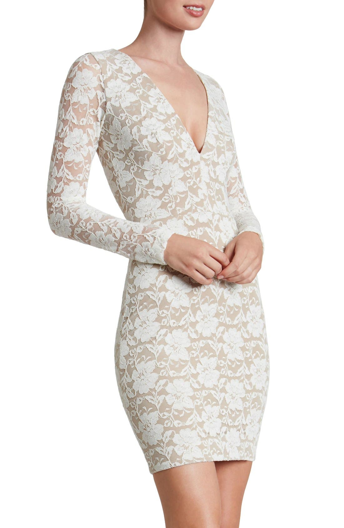 Alternate Image 1 Selected - Dress the Population 'Erica' Plunge Neck Lace Body-Con Dress