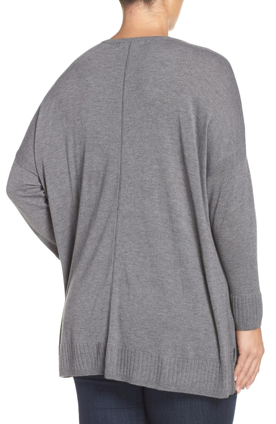 Alternate Image 2  - Sejour Dolman Sleeve V-Neck Sweater (Plus Size)