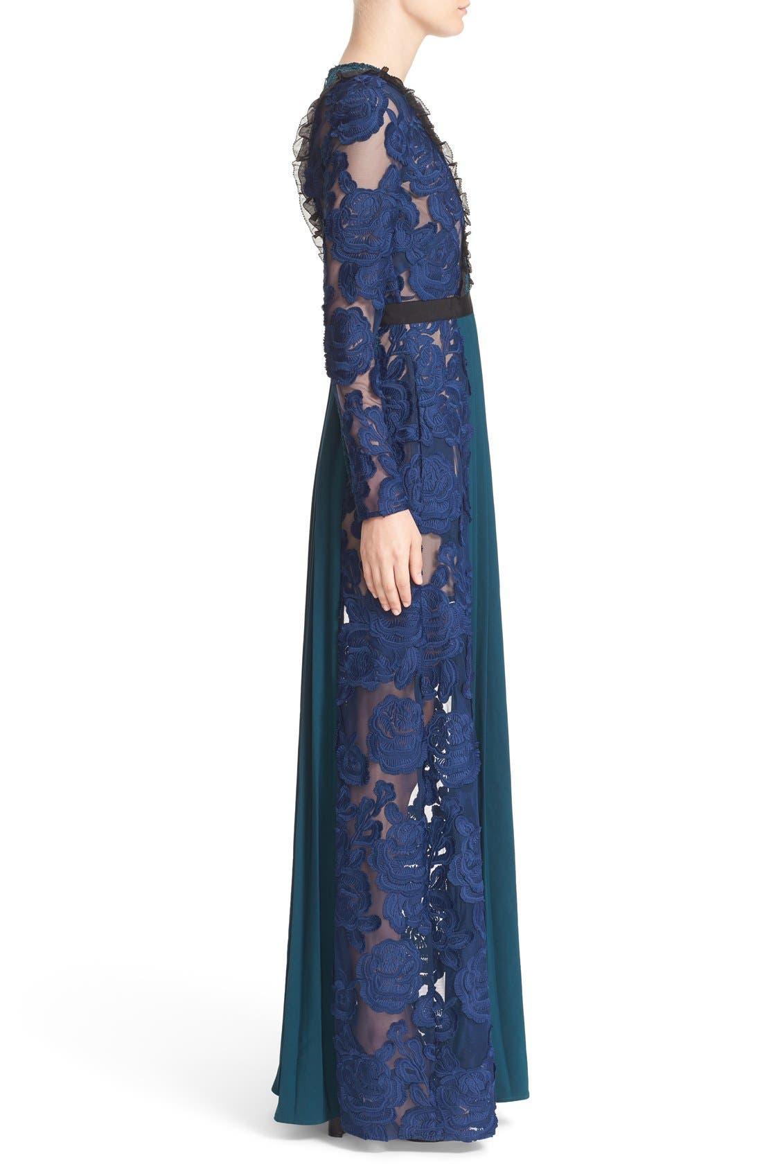 Alternate Image 3  - Self-Portrait 'Thea' Lace & Crepe Maxi Dress
