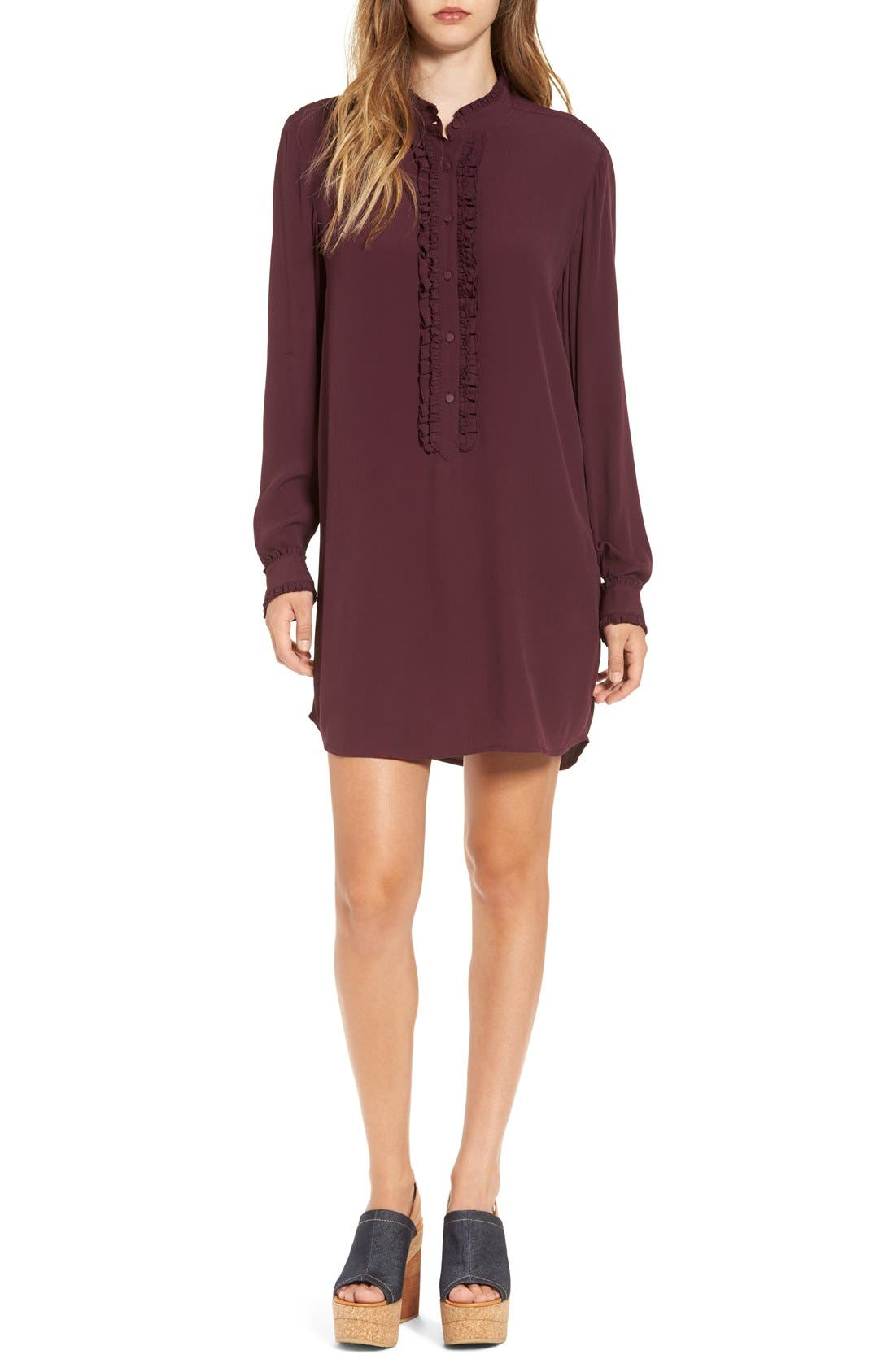 Alternate Image 1 Selected - Leith Ruffle Front Shirtdress