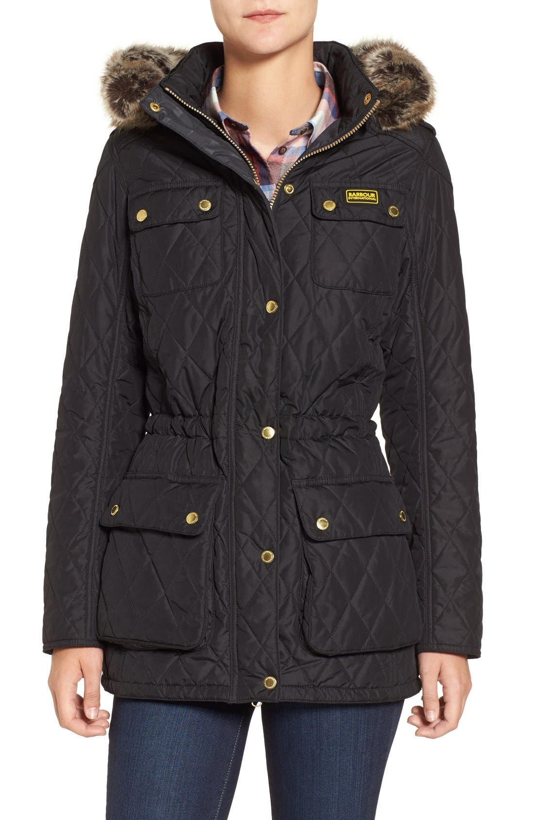 Main Image - Barbour International Enduro Quilted Jacket with Faux Fur Trim Hood