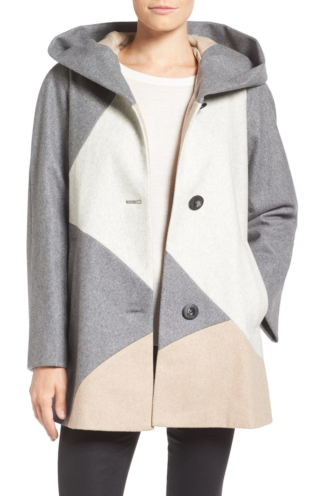 Alternate Image 1 Selected - Gallery 'Puzzle' Wool Blend Hooded Colorblock Coat