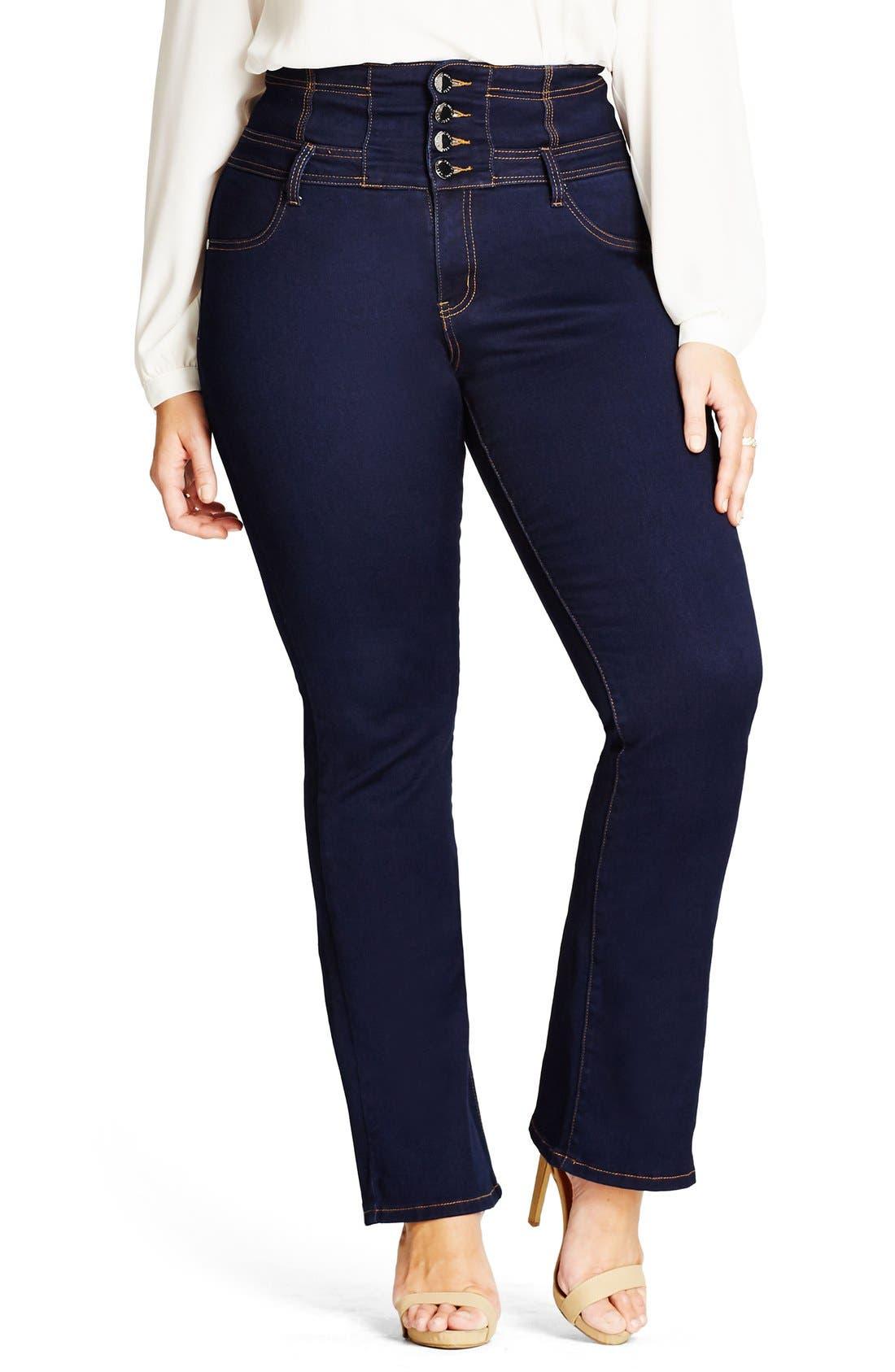 CITY CHIC Corset Waist Stretch Bootleg Jeans