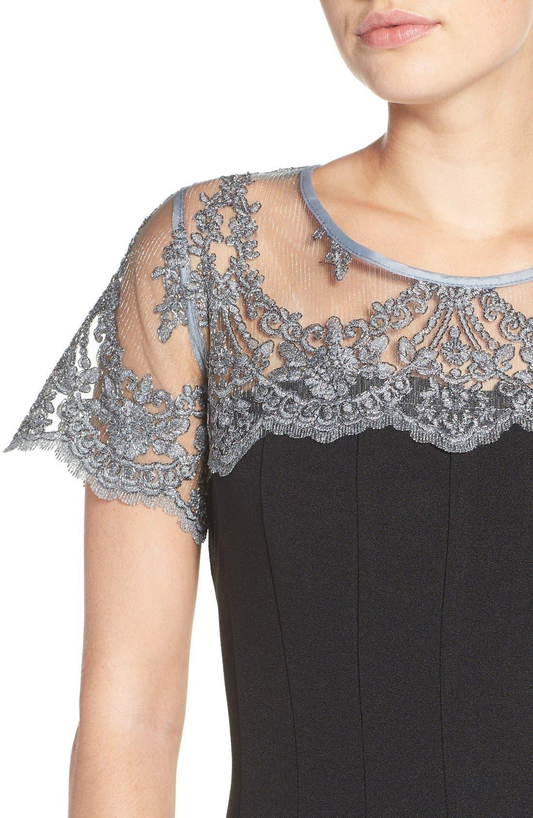 Alternate Image 5  - Chetta B Lace Yoke Fit & Flare Dress