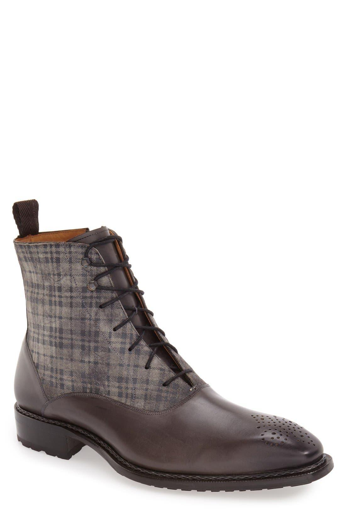MEZLAN 'Grimaldi' Medallion Toe Fabric Shaft Boot