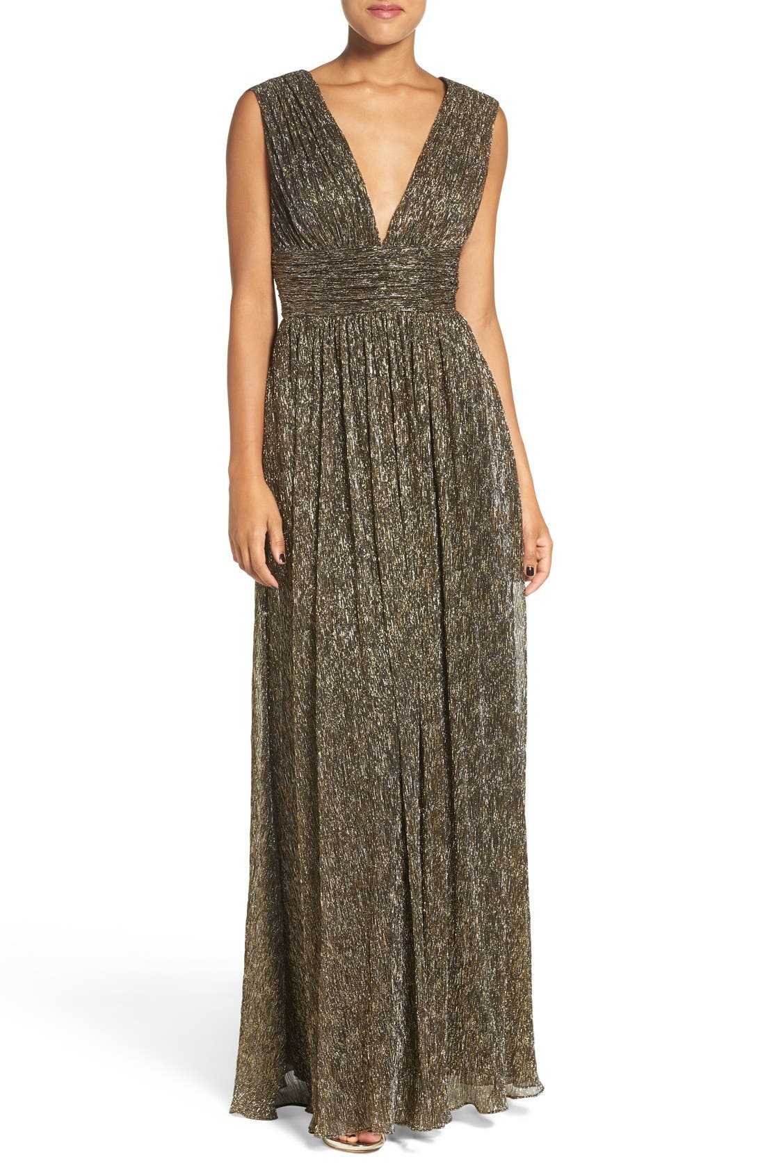 Main Image - Aidan by Aidan Mattox Crinkle Metallic Fit & Flare Gown