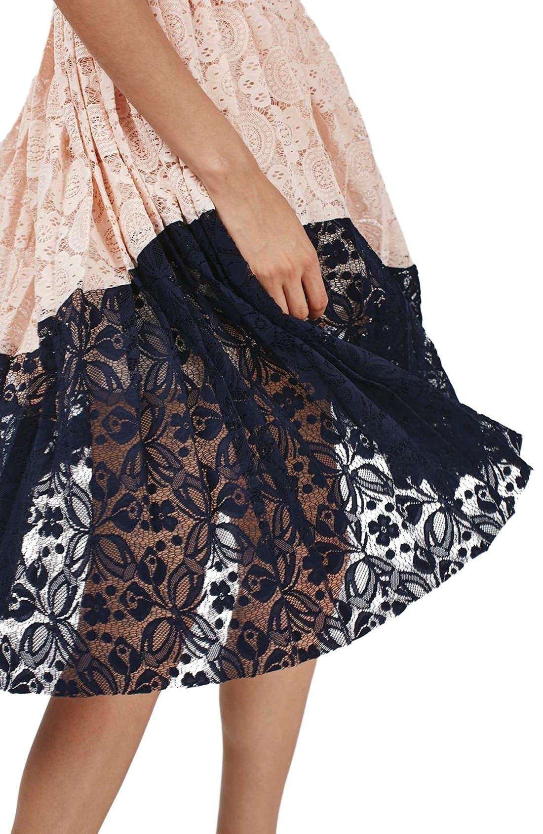 Alternate Image 4  - Topshop Colorblock Pleated Lace Midi Dress