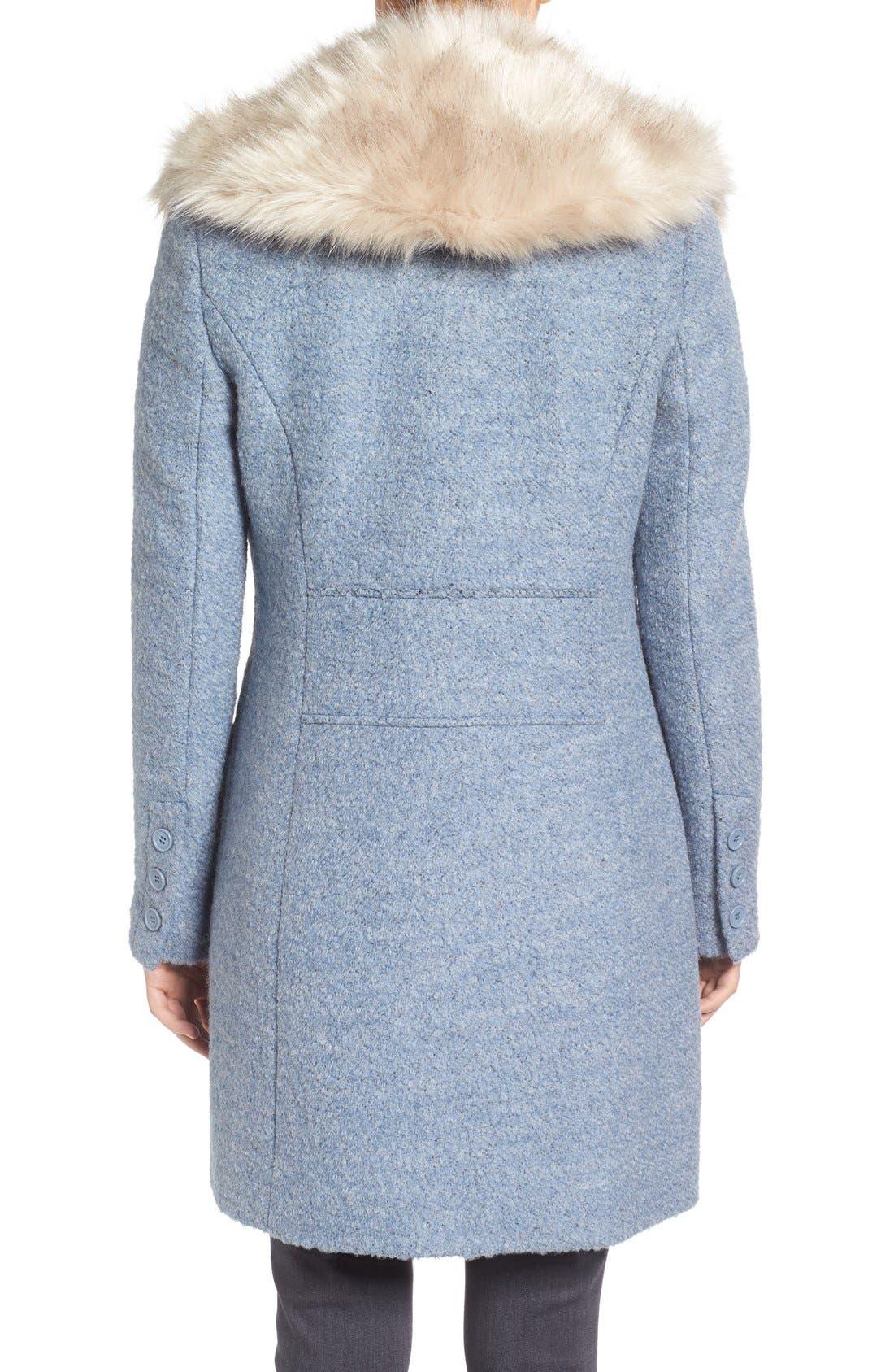 Alternate Image 2  - Belle Badgley Mischka 'Holly' Faux Fur Collar Bouclé Coat