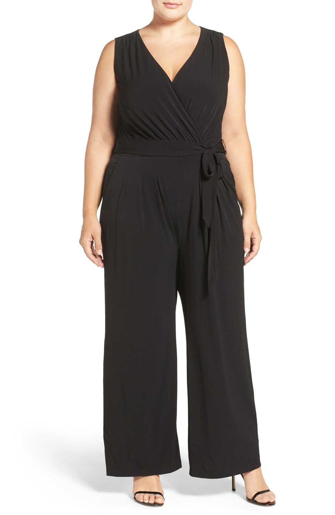 Vince Camuto Wide Leg V-Neck Jumpsuit (Plus Size)