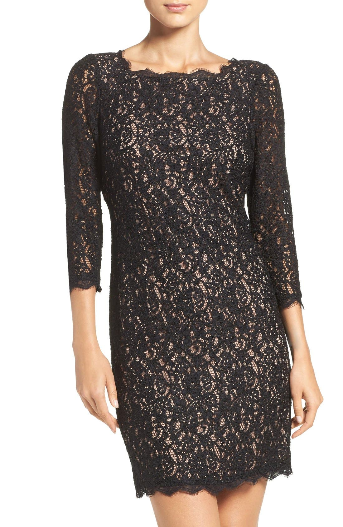 Alternate Image 1 Selected - Adrianna Papell Lace Overlay Sheath Dress (Regular & Petite)