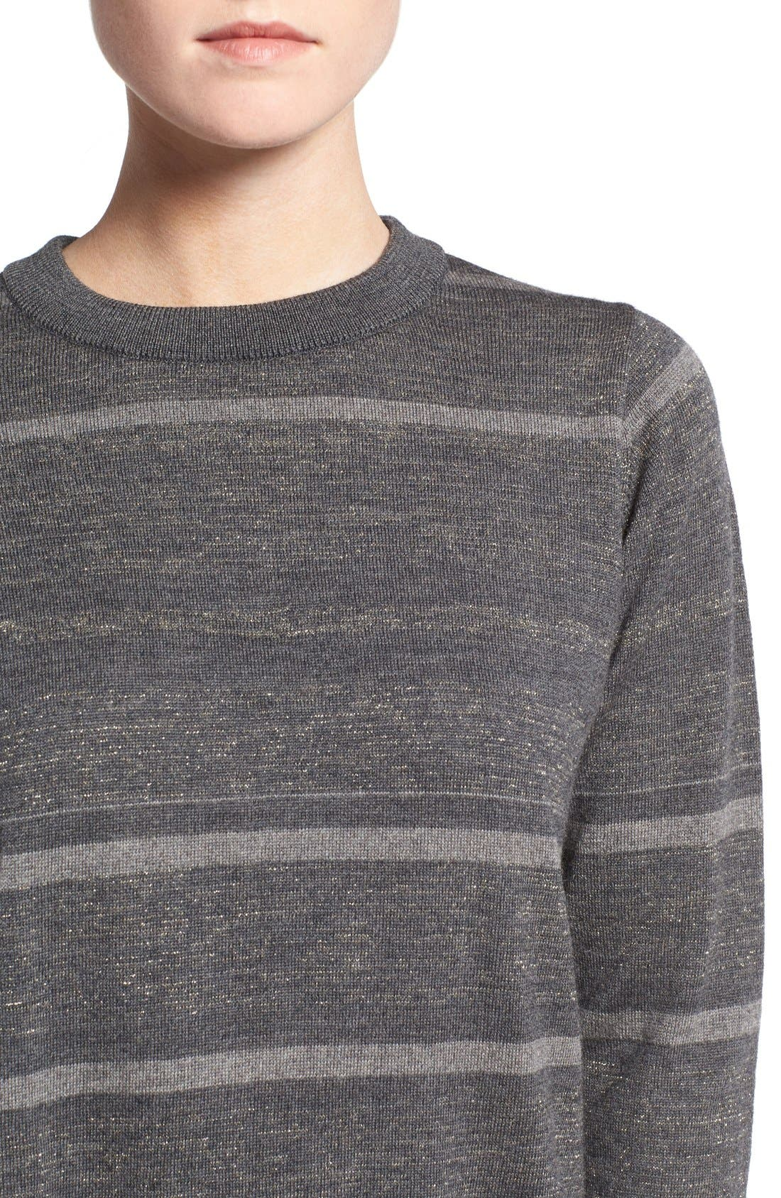Alternate Image 4  - M.i.h. Jeans 'Falls' Metallic Stripe Merino Wool Sweater