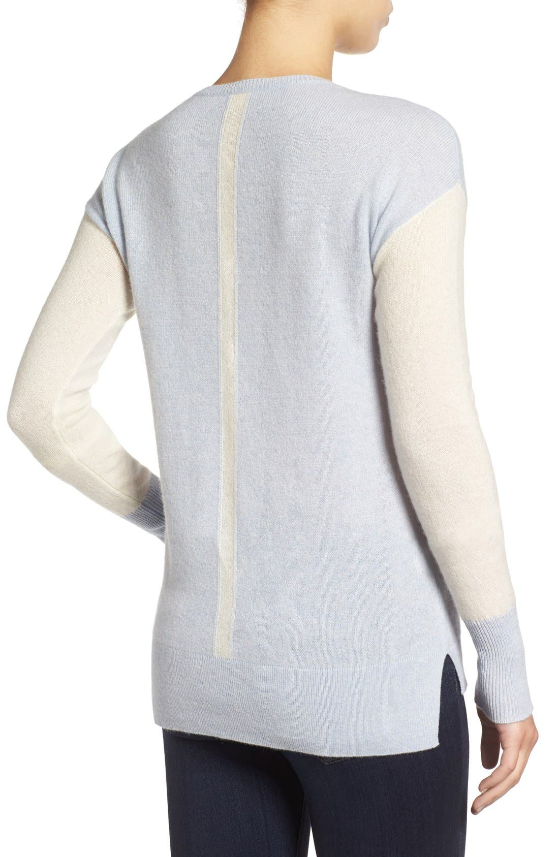 Alternate Image 2  - Halogen® Cashmere V-Neck Sweater (Regular & Petite)