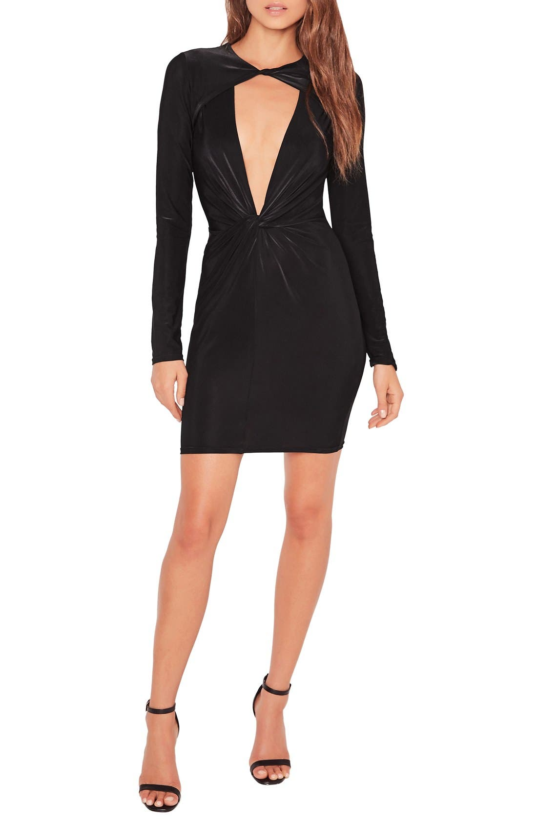 Main Image - Missguided Twist Front Plunge Minidress