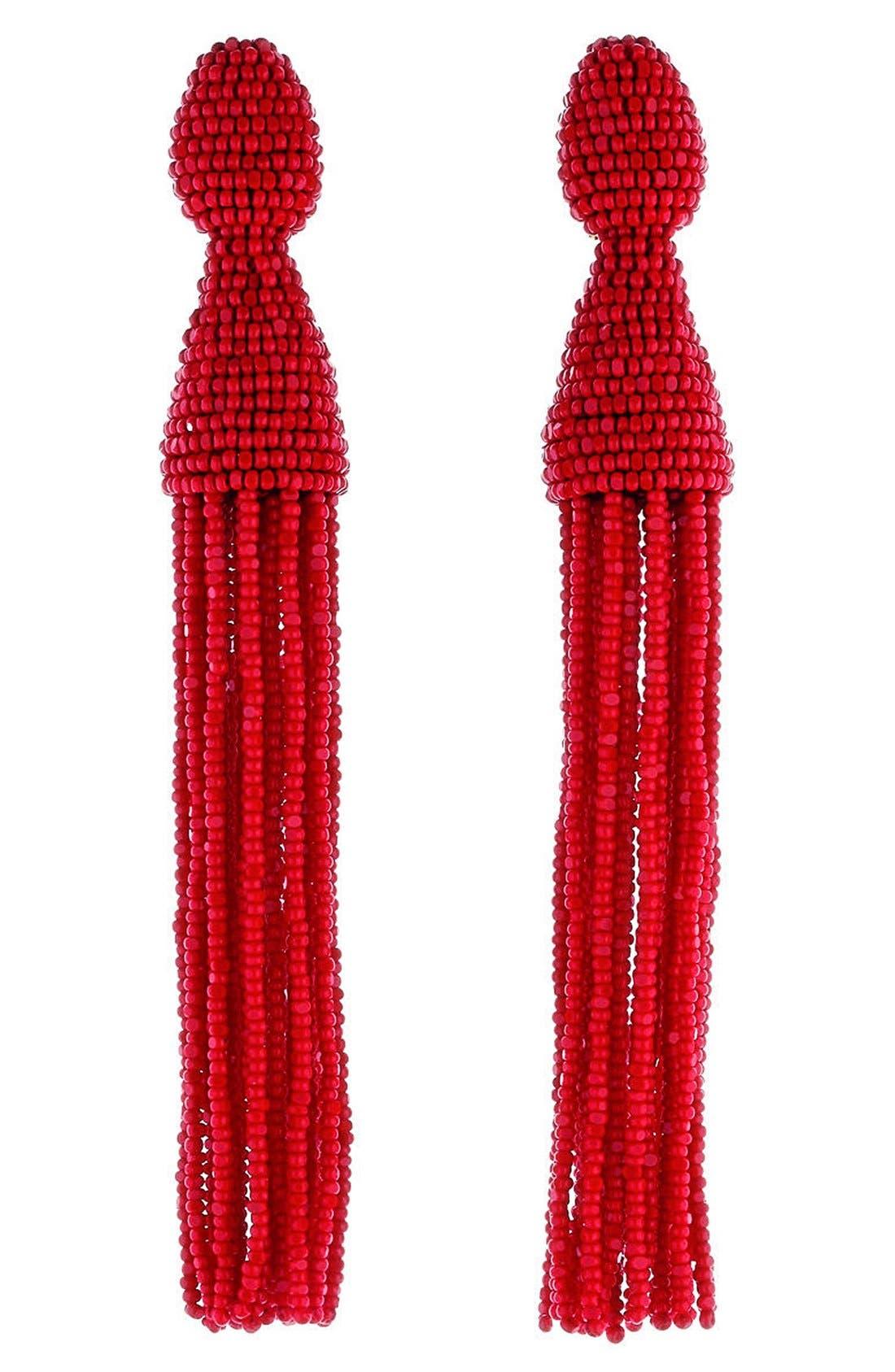 Alternate Image 1 Selected - Oscar de la Renta Long Beaded Tassel Drop Earrings
