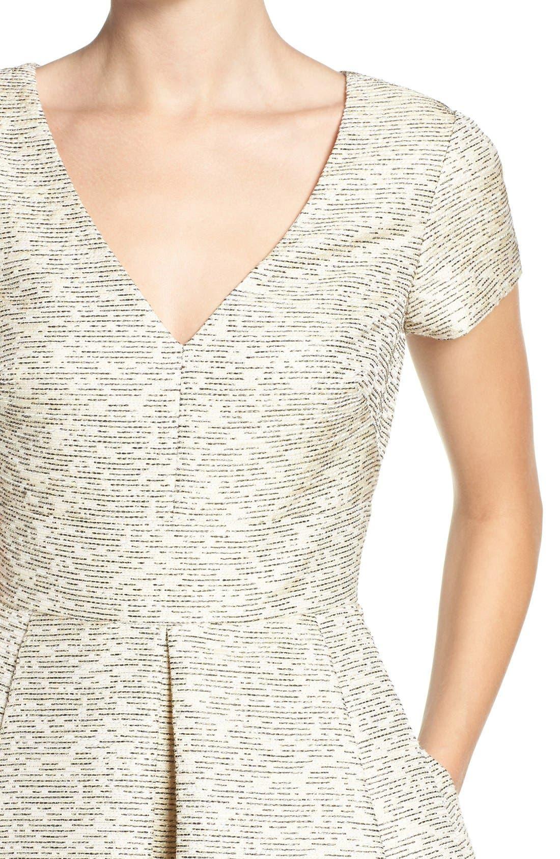 Alternate Image 5  - Eliza J Metallic Jacquard Fit & Flare Dress