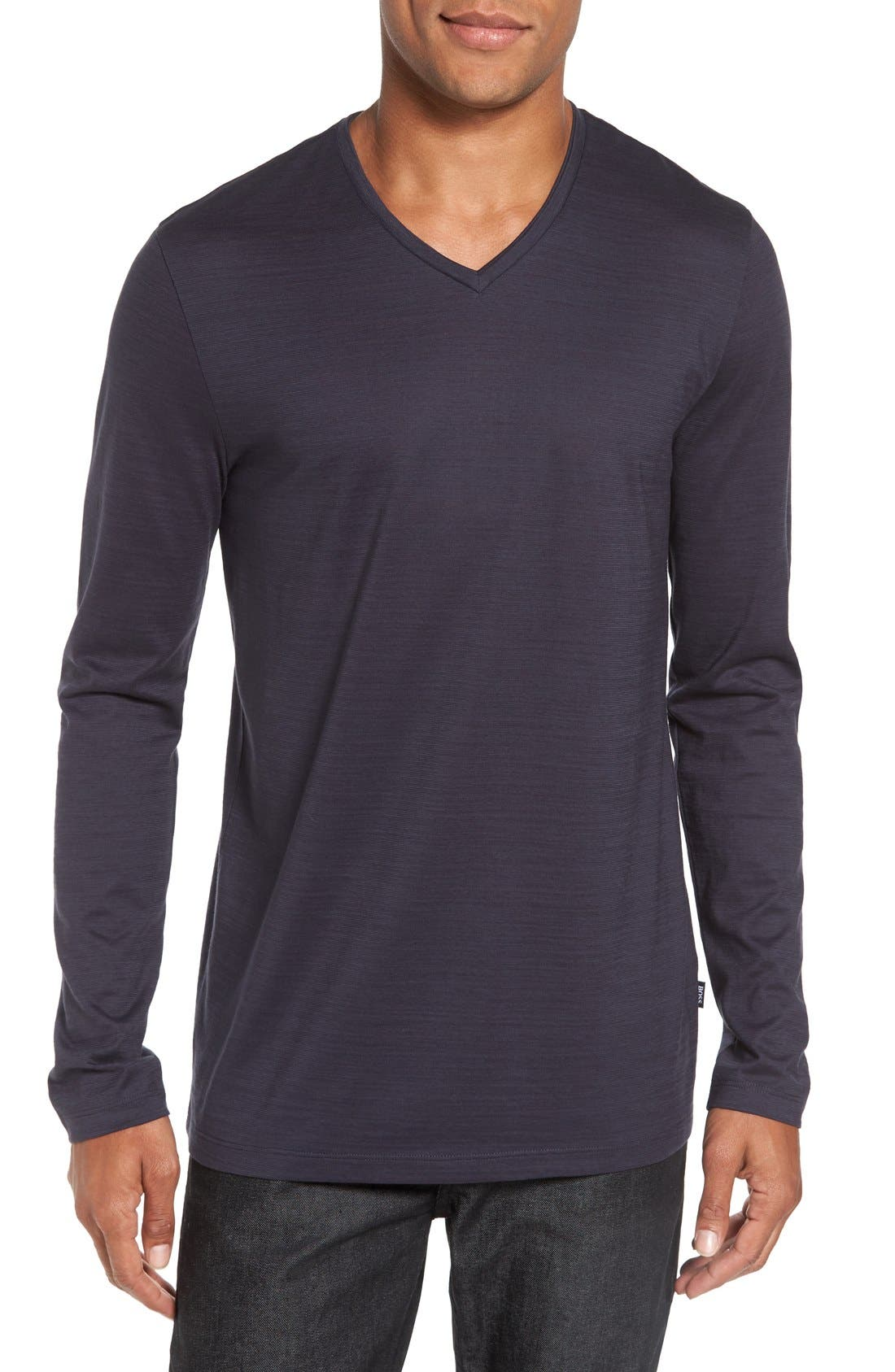 BOSS 'Tyson' V-Neck Long Sleeve T-Shirt
