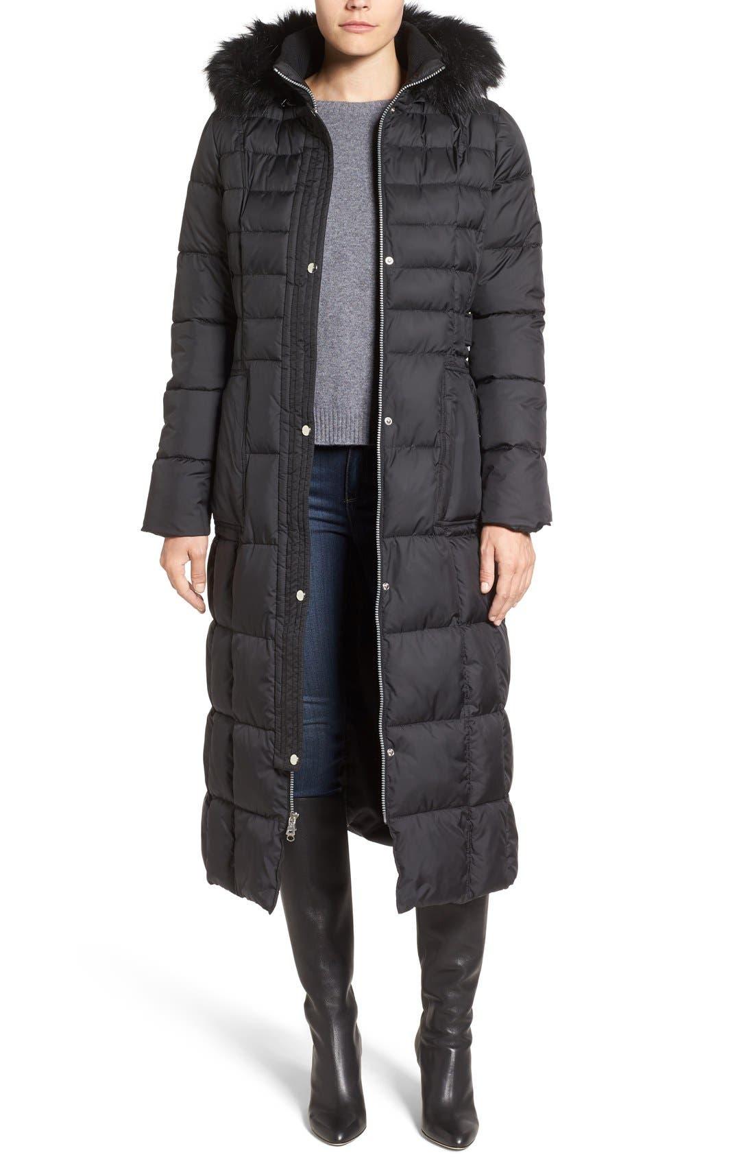 Larry Levine Quilted Maxi Coat with Faux Fur Trim