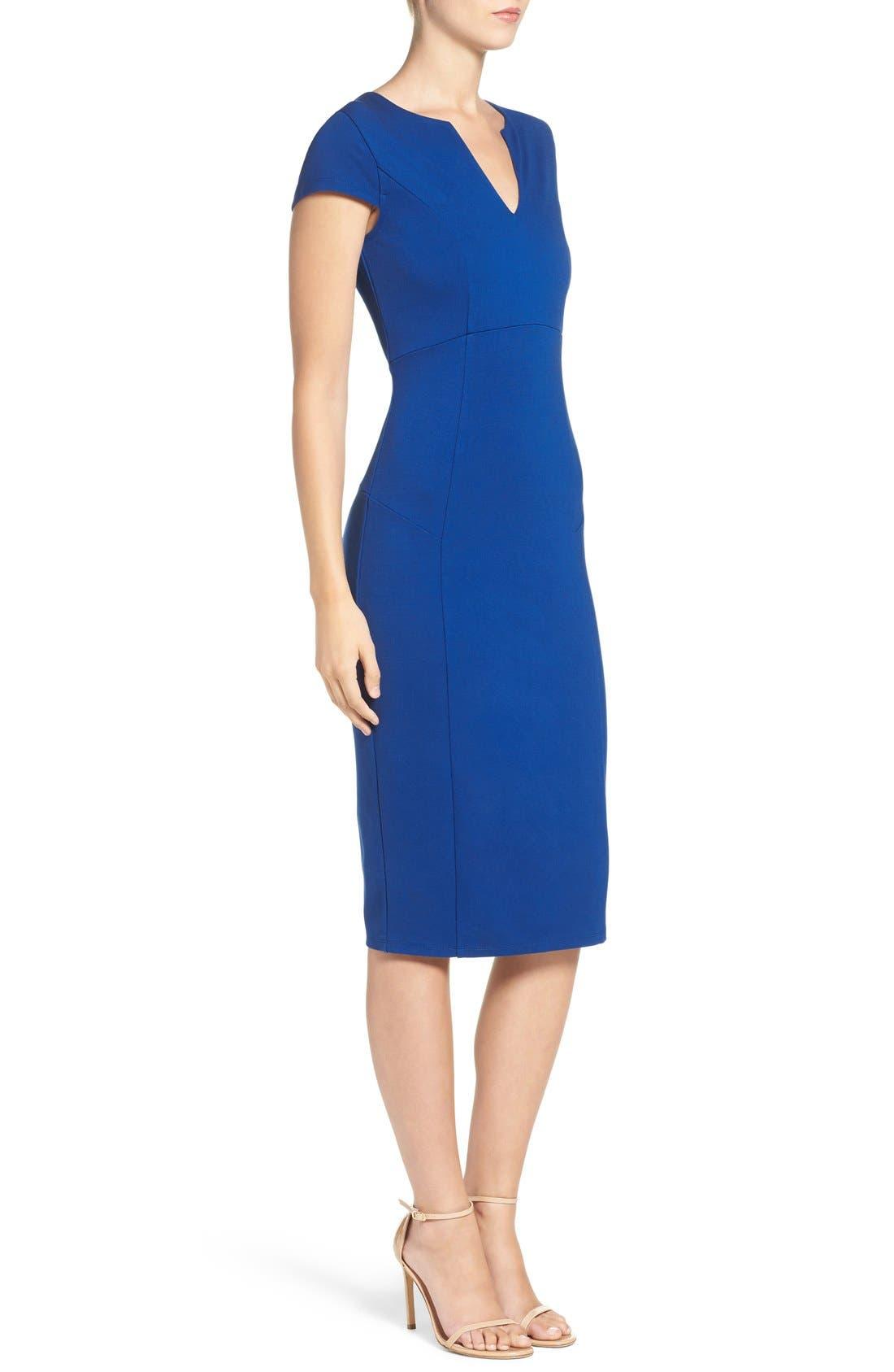 Alternate Image 3  - Felicity & Coco V-Neck Ponte Knit Midi Sheath Dress (Regular & Petite) (Nordstrom Exclusive)