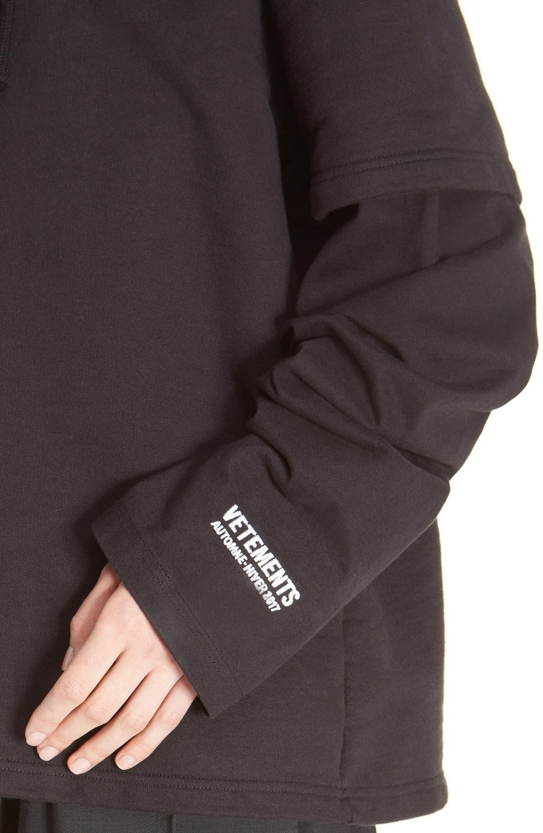 Alternate Image 6  - Vetements 'Justin4Ever' Double Sleeve Graphic Hoodie Dress
