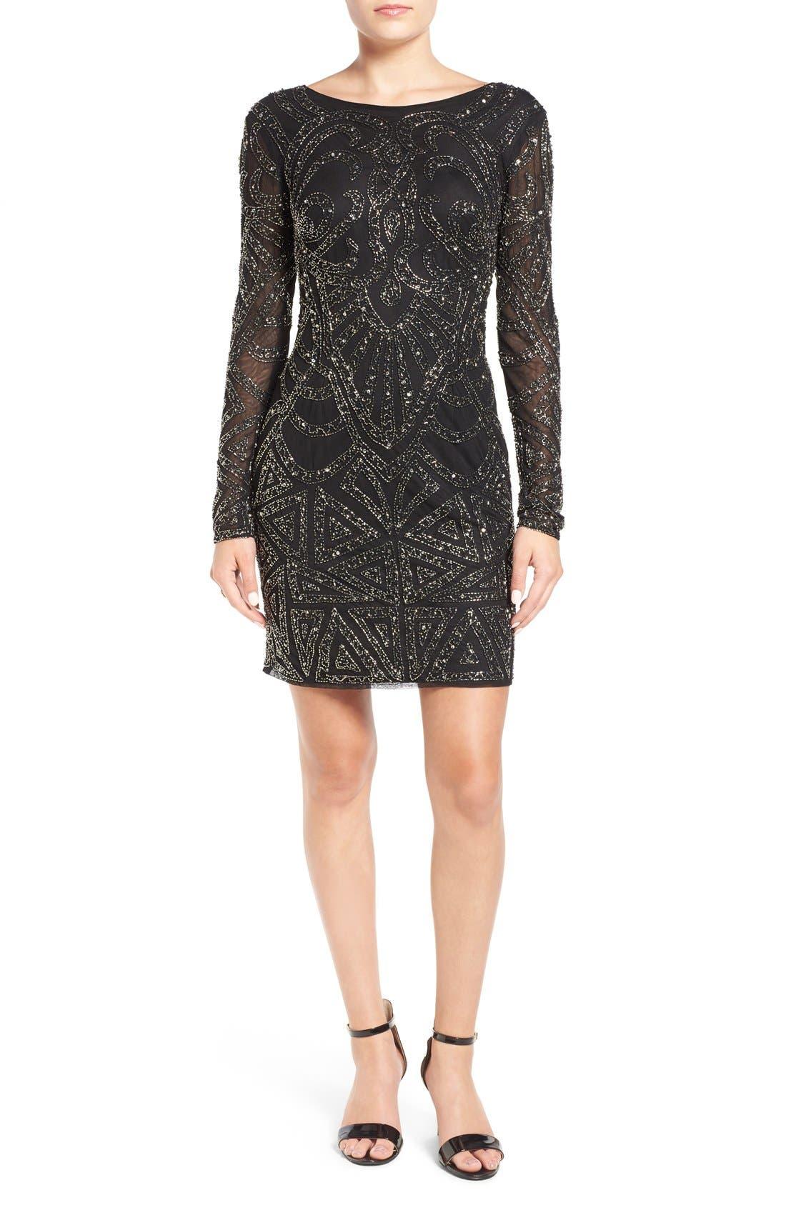 Main Image - Lace & Beads 'Brooklyn' Embellished Long Sleeve Sheath Dress
