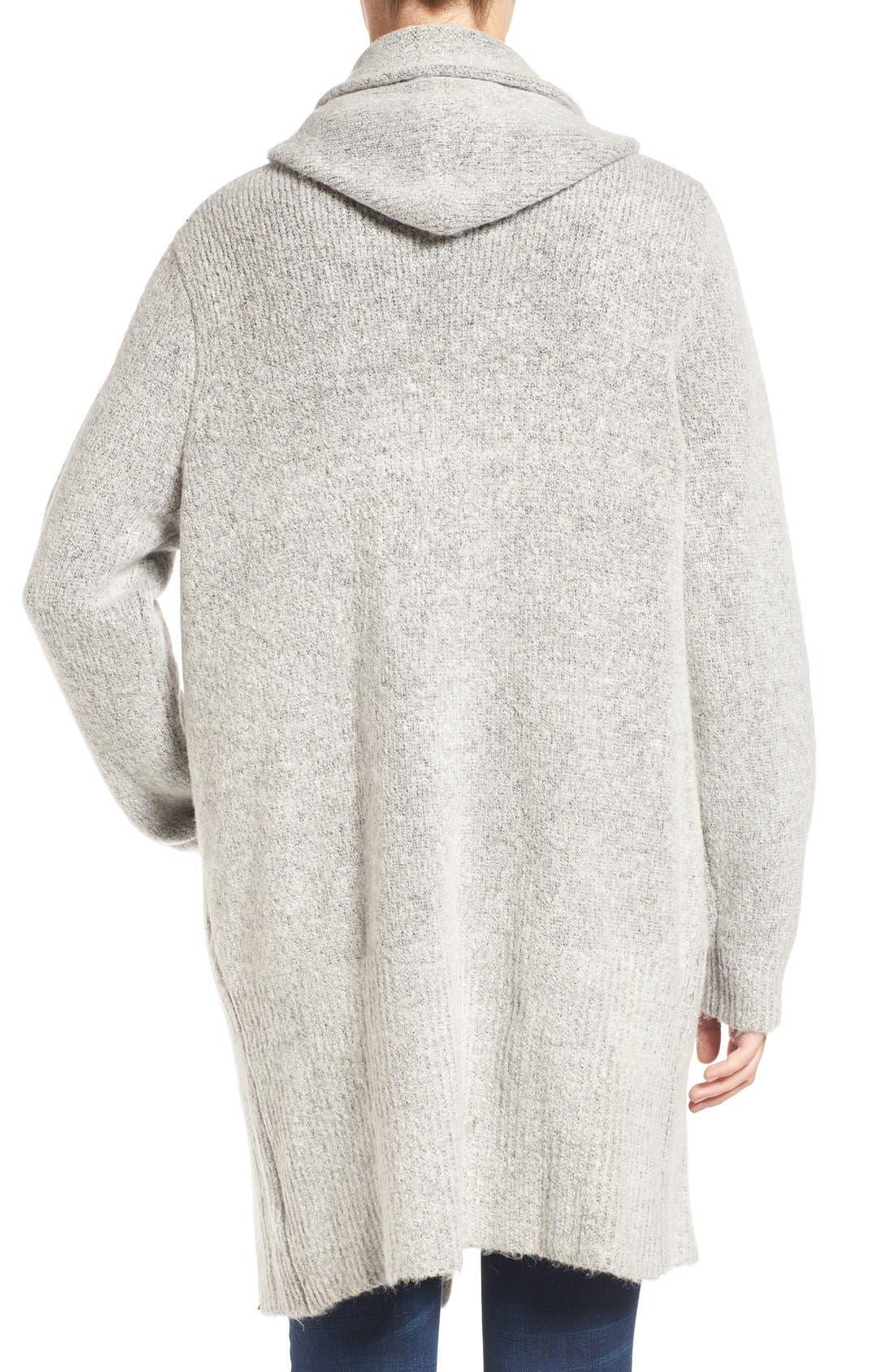 Alternate Image 2  - BLANKNYC 'Textationship' Knit Hooded Cardigan