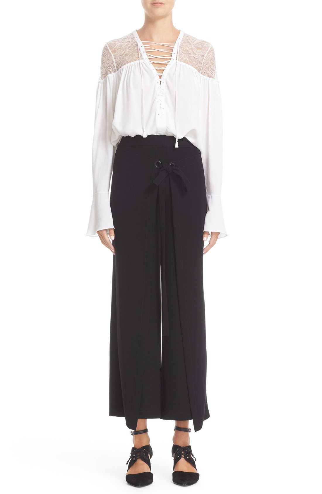 Alternate Image 7  - Yigal Azrouël Lace-Up Ruched Crepe Georgette Blouse